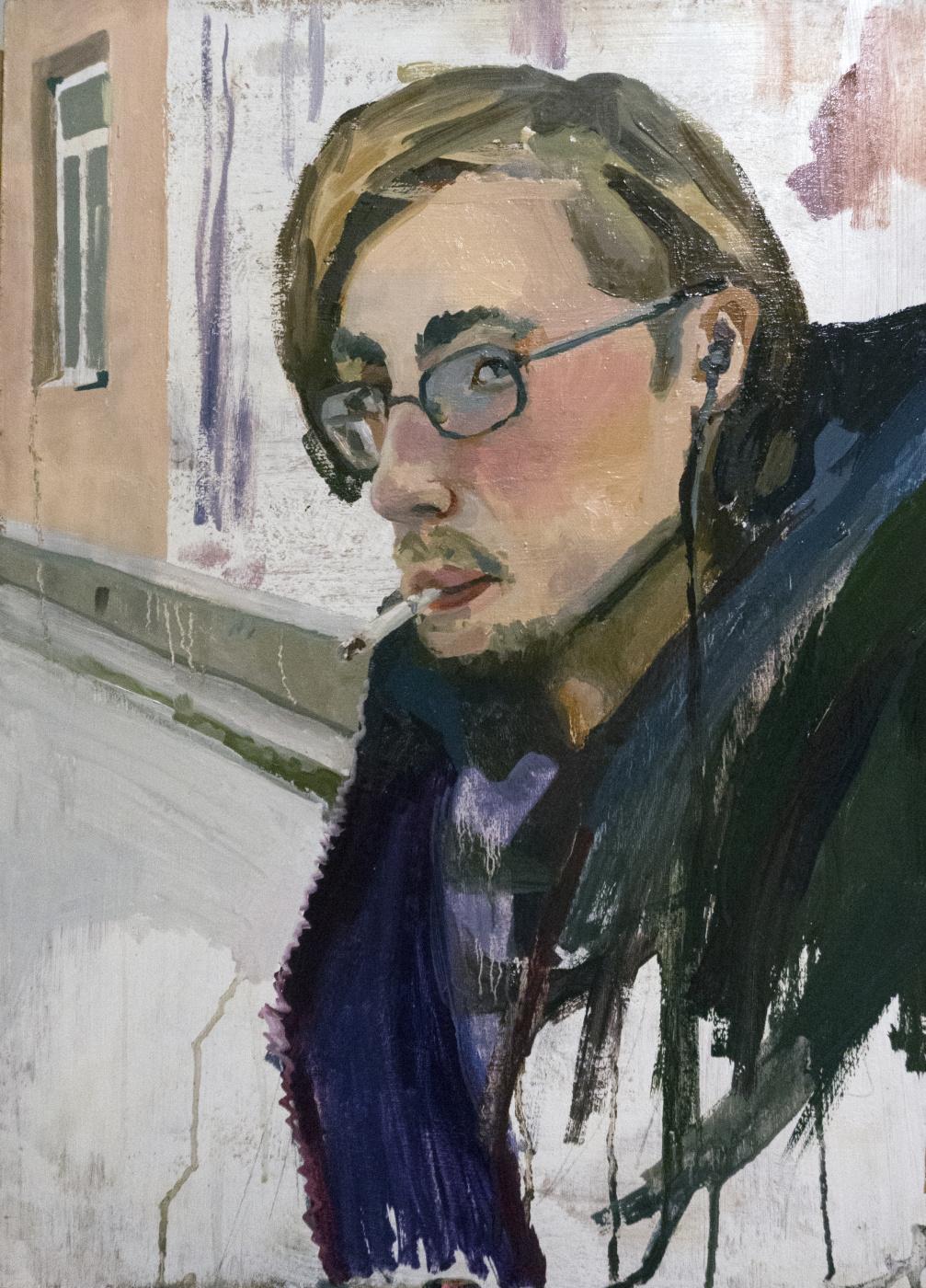 Ilya Igorevich Statsura. Portrait of a classmate with a cigarette