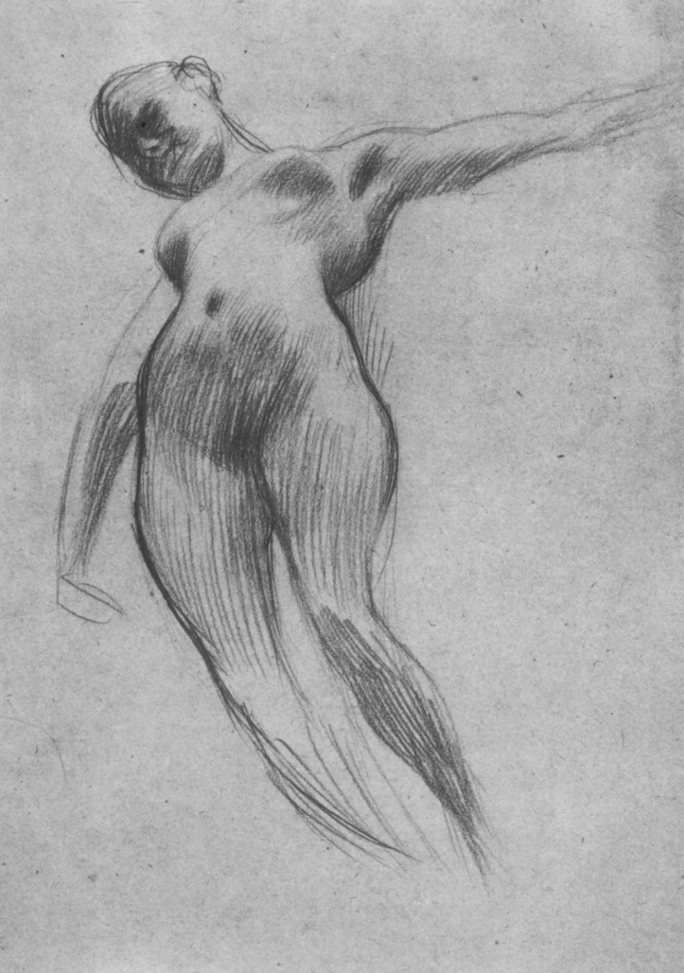 """Gustav Klimt. Floating Nude (Sketch for """"Medicine"""")"""