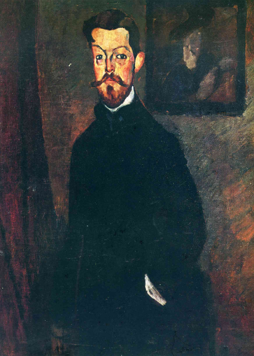 Amedeo Modigliani. Portrait of Dr Paul Alexander on brown background