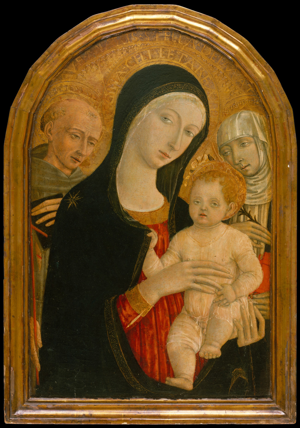 Matteo di Giovanni. Madonna and child with saints Francis and Catherine of Siena