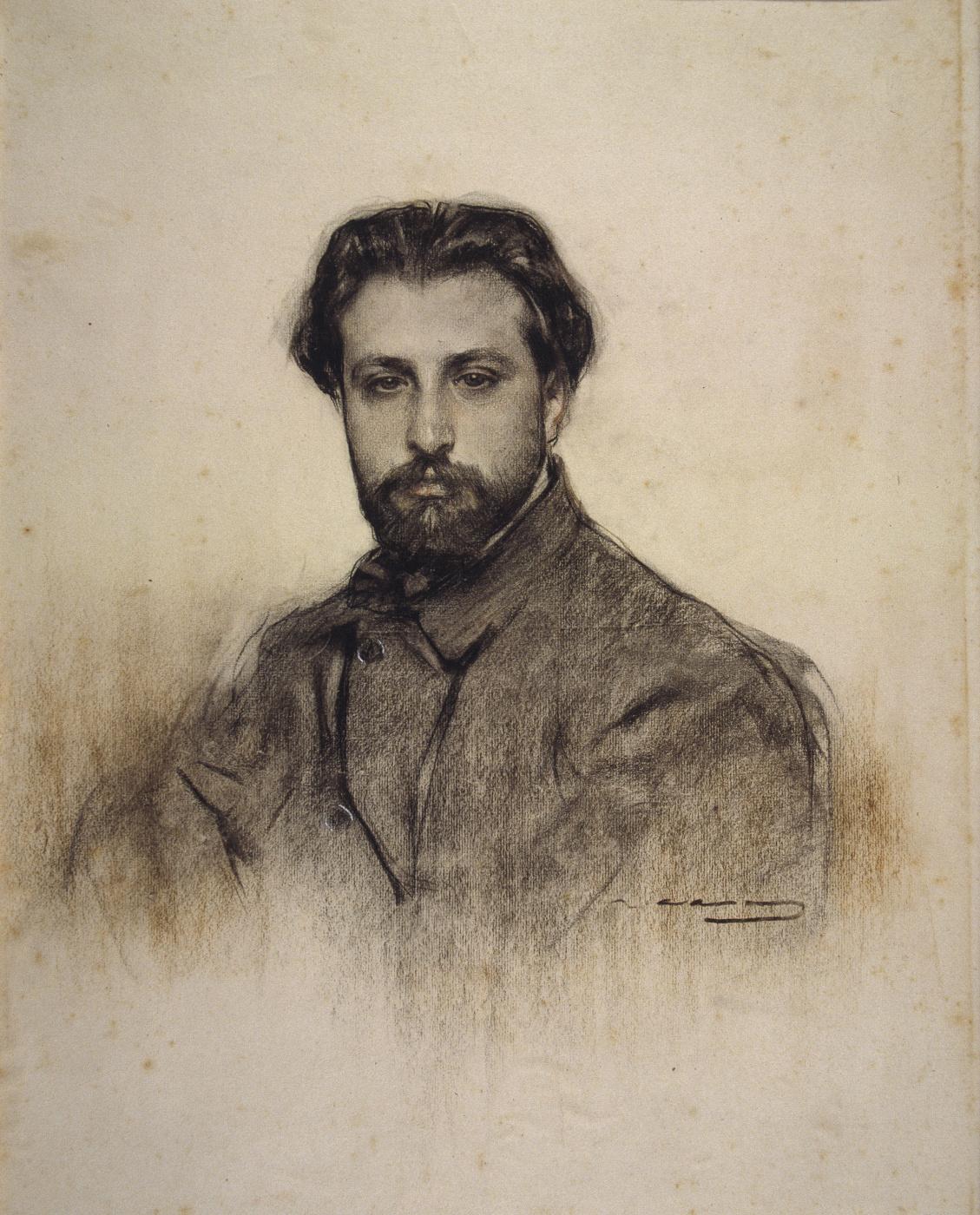 Ramon Casas i Carbó. Portrait of violinist Juan Manen