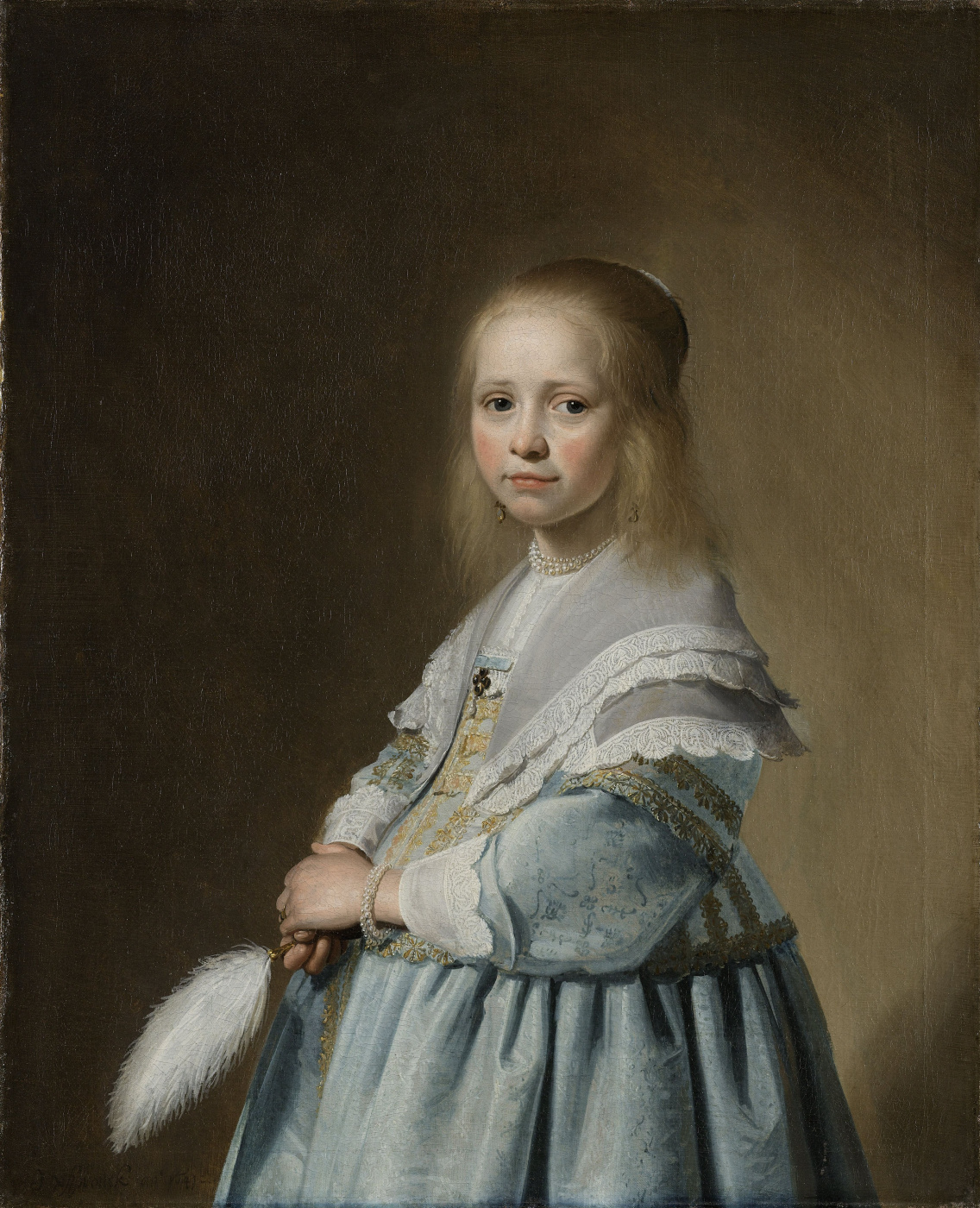 Ian Cornelis Versprop. Portrait of a girl in a blue dress