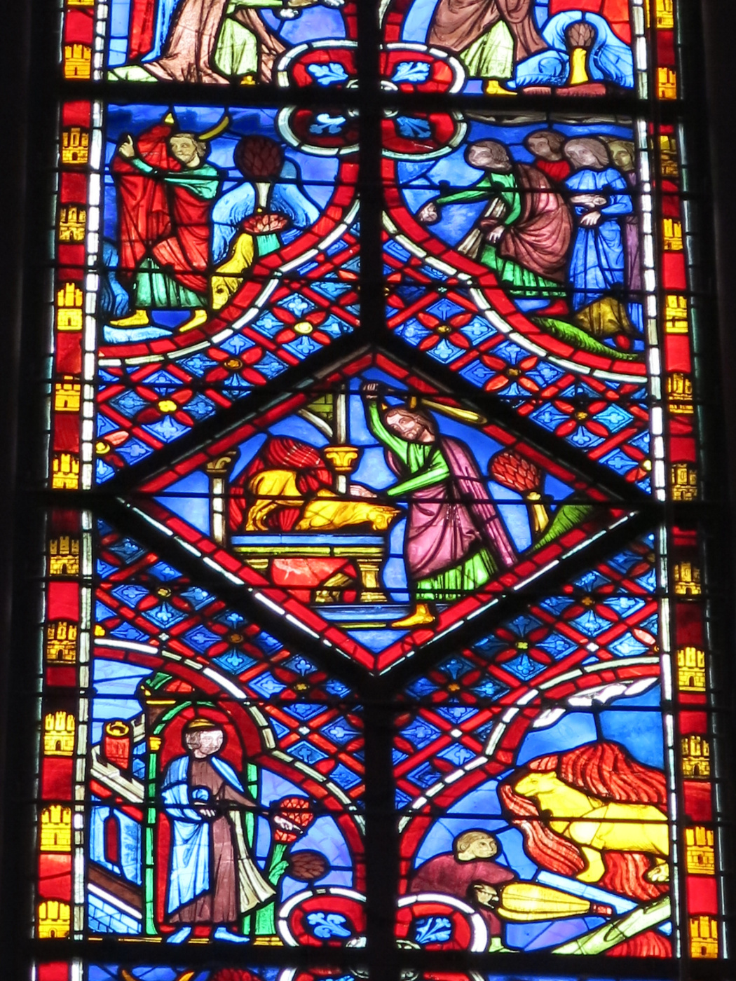 Pierre Montallier. Moses and the golden calf. Fragment of the stained glass window of the Sainte Chapelle
