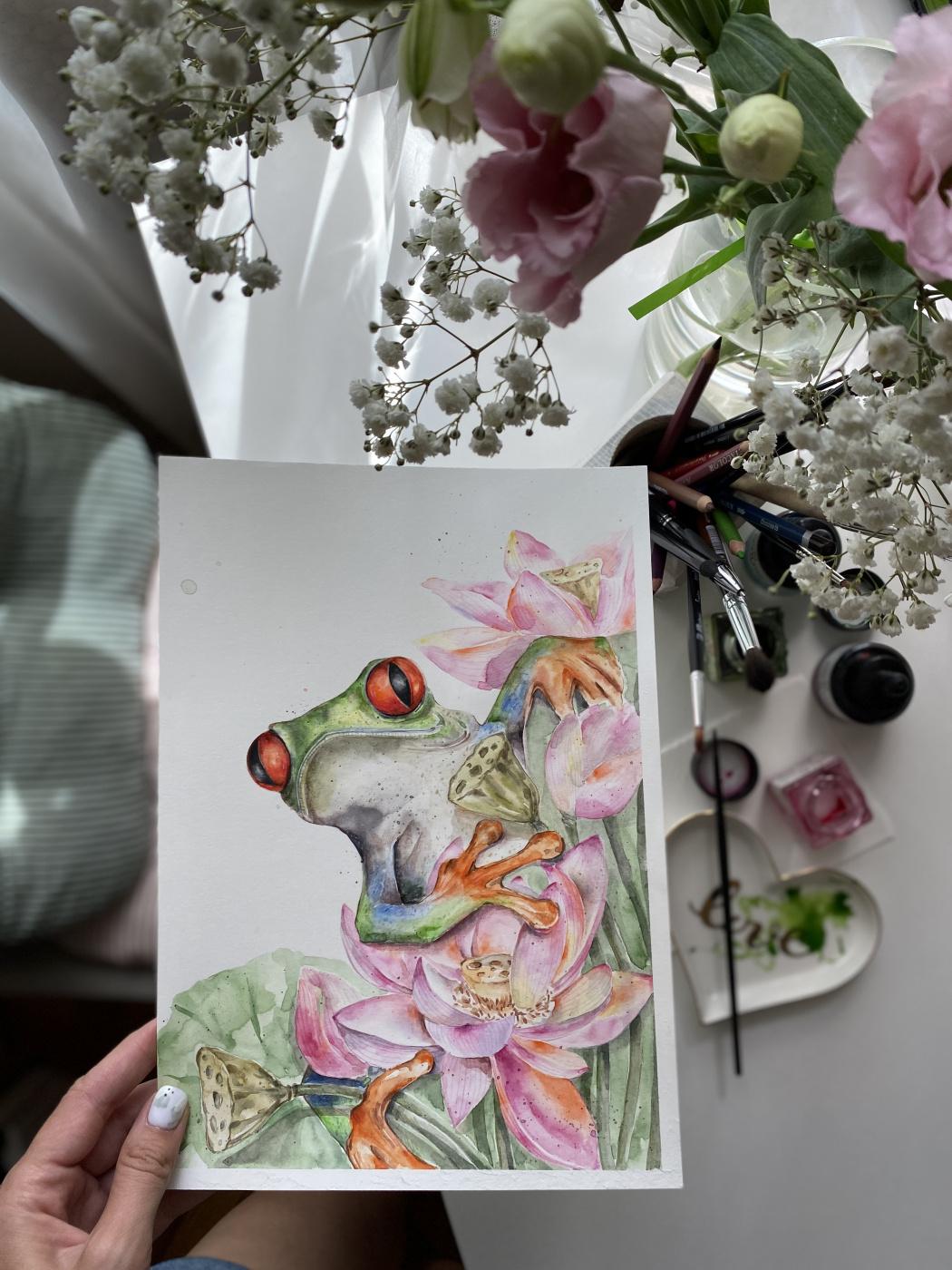 Arina Vikt. Watercolor frog