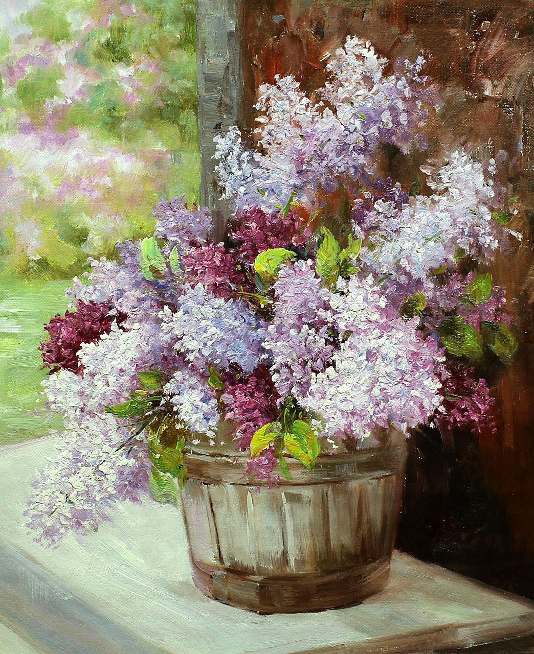 """Andrzej Vlodarczyk. Oil painting """"Bouquet of lilacs on the background of the garden"""""""
