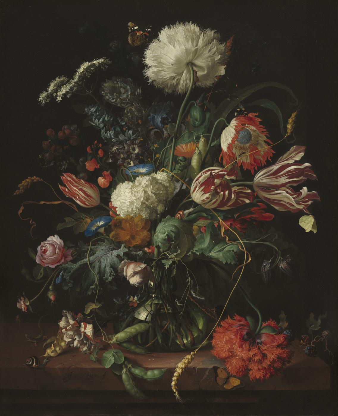 Jan Davids de Hem. Vase with flowers