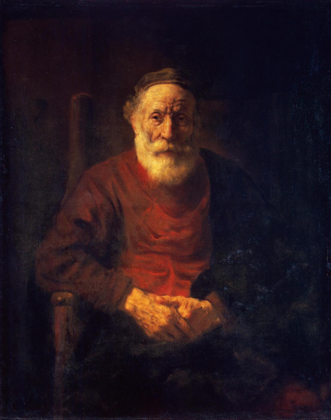 Rembrandt Harmenszoon van Rijn. Portrait of an old man in red