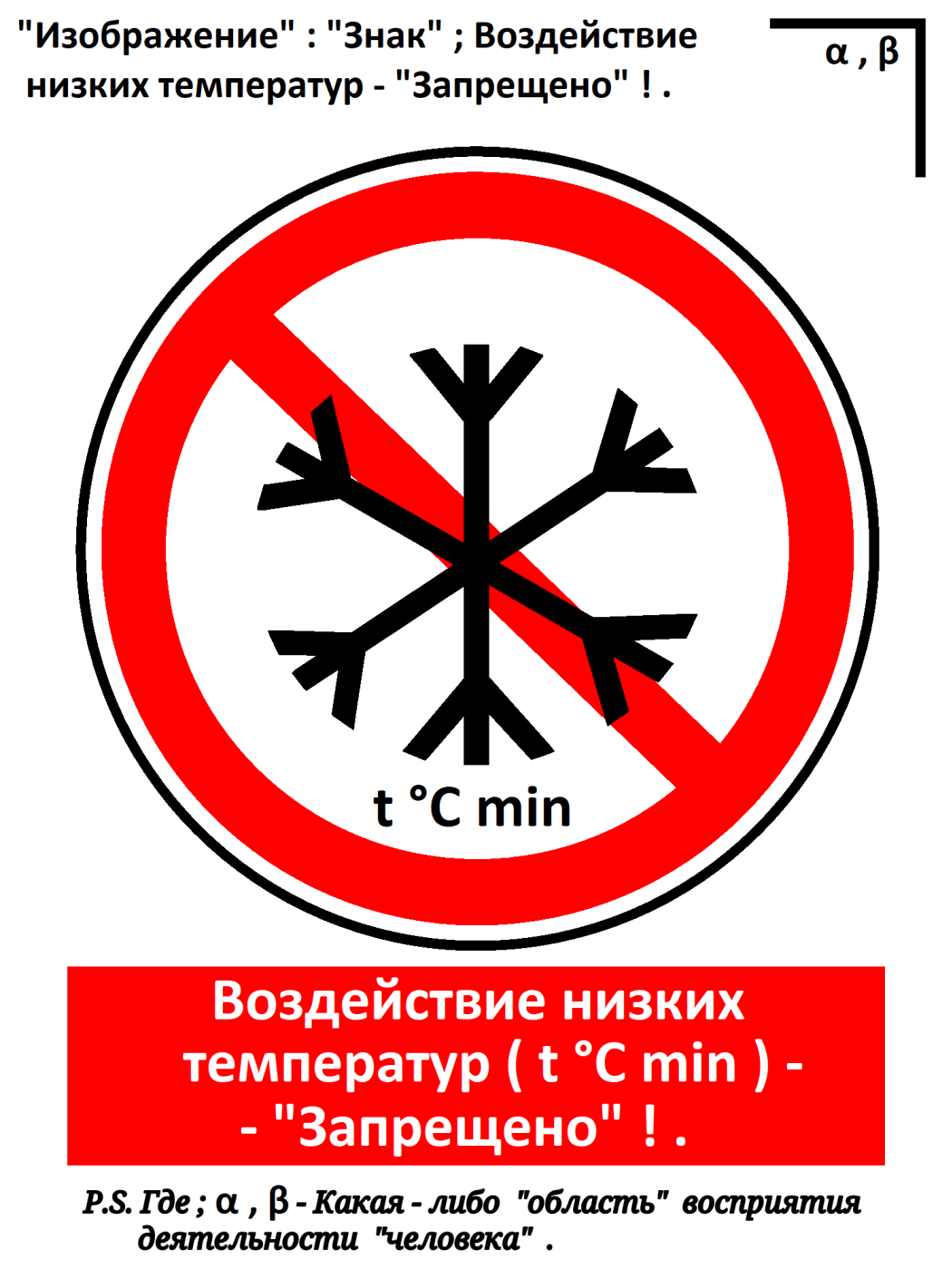 "Arthur Gabdrupes. ""Image"": ""Sign""; Exposure to low temperatures - ""Forbidden""! ..."
