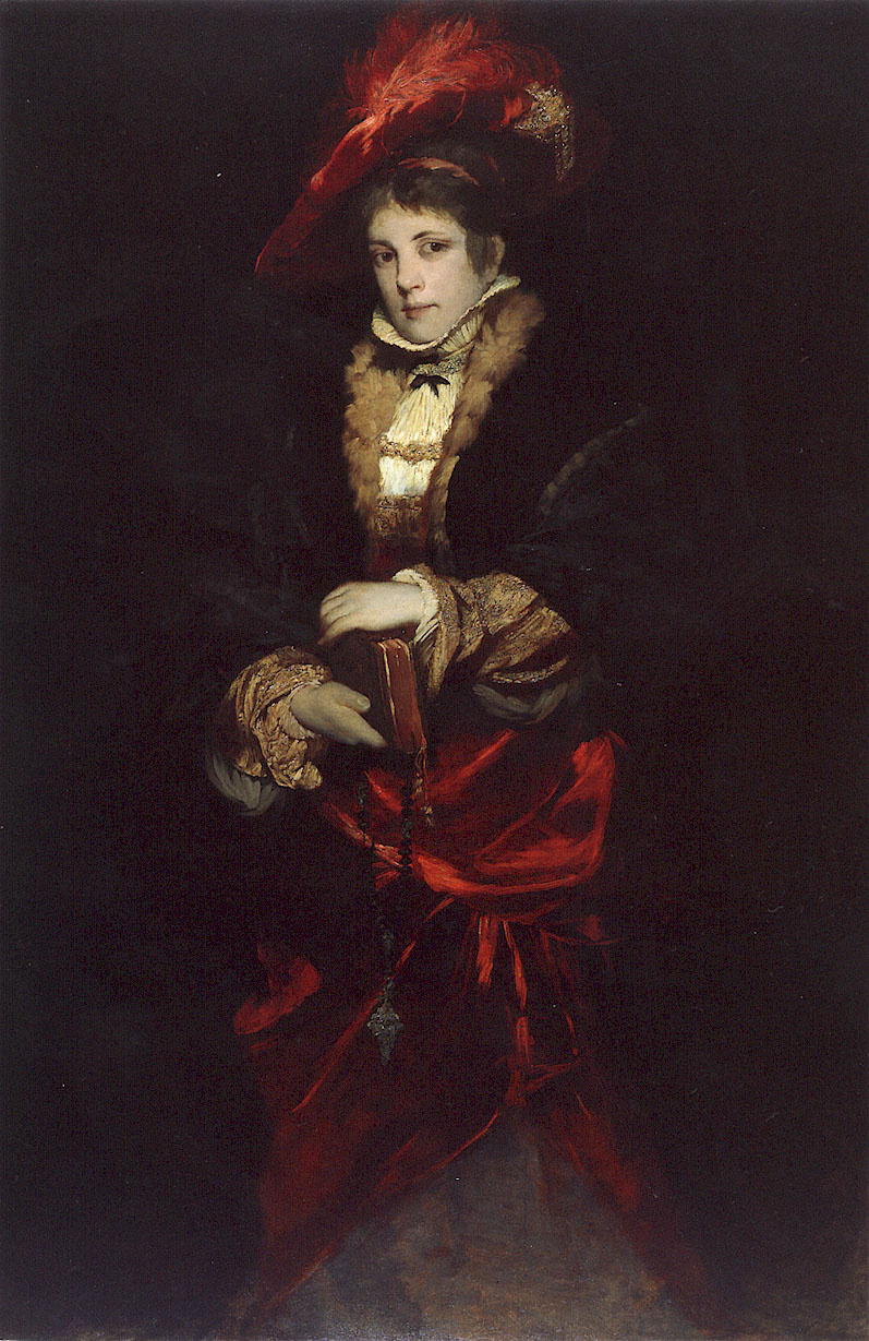 Hans Makart. Portrait of a lady in a red hat with feathers
