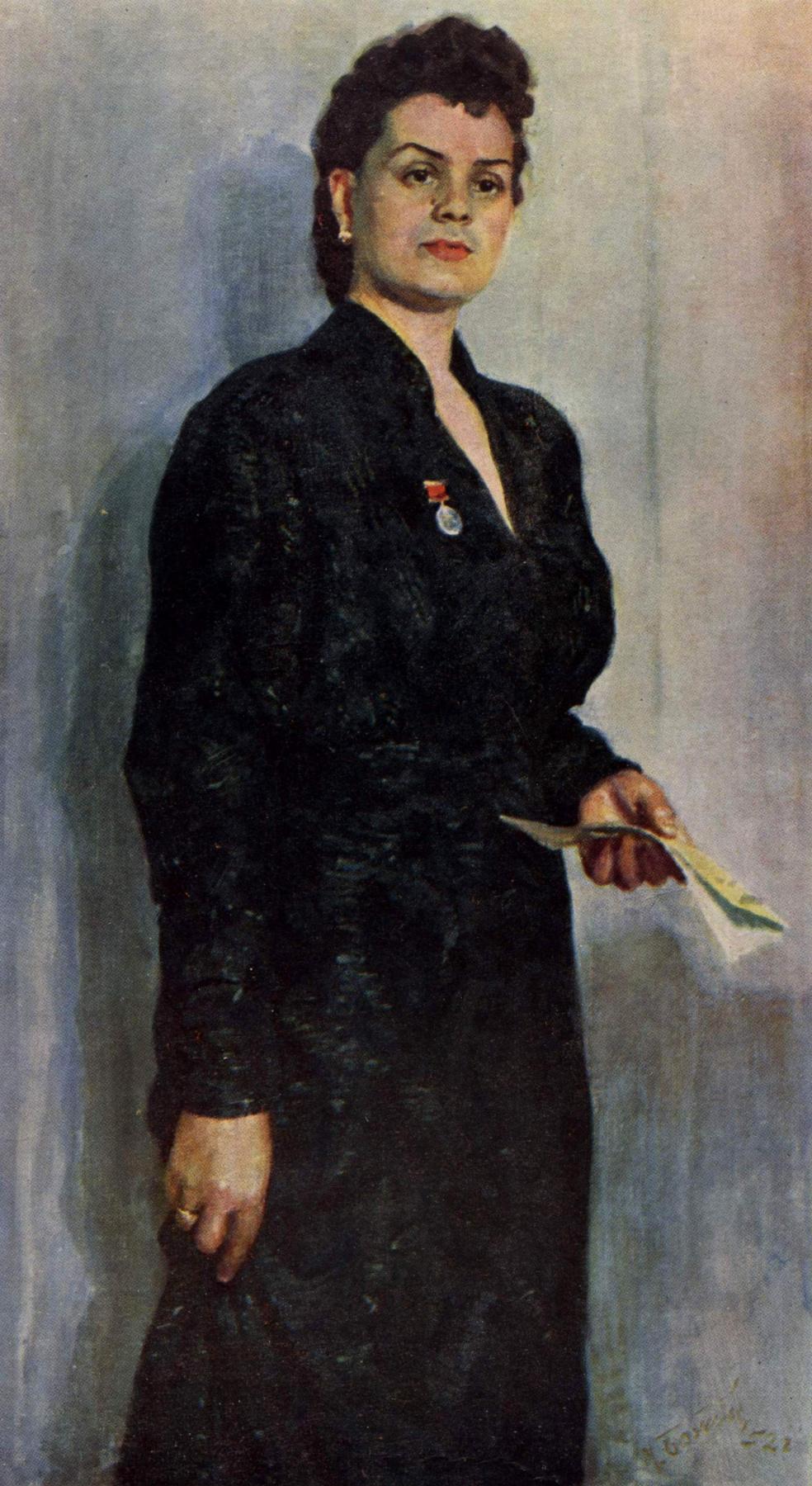 Michael Mikhailovich God Ukraine 1911 - 1990. Portrait of the actress O. Ya. Kusenko. 1952