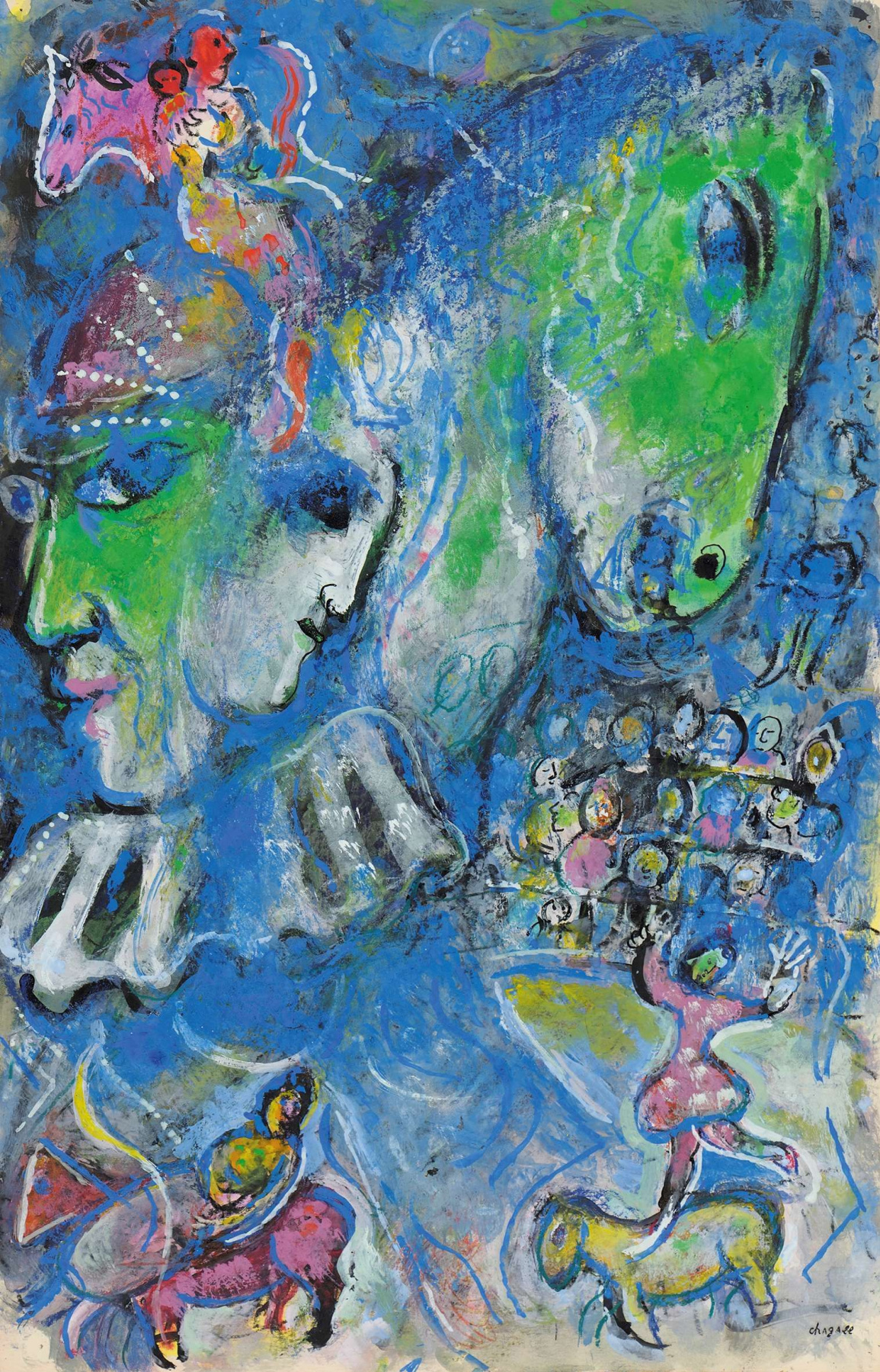 Marc Chagall. Two green profile in the circus