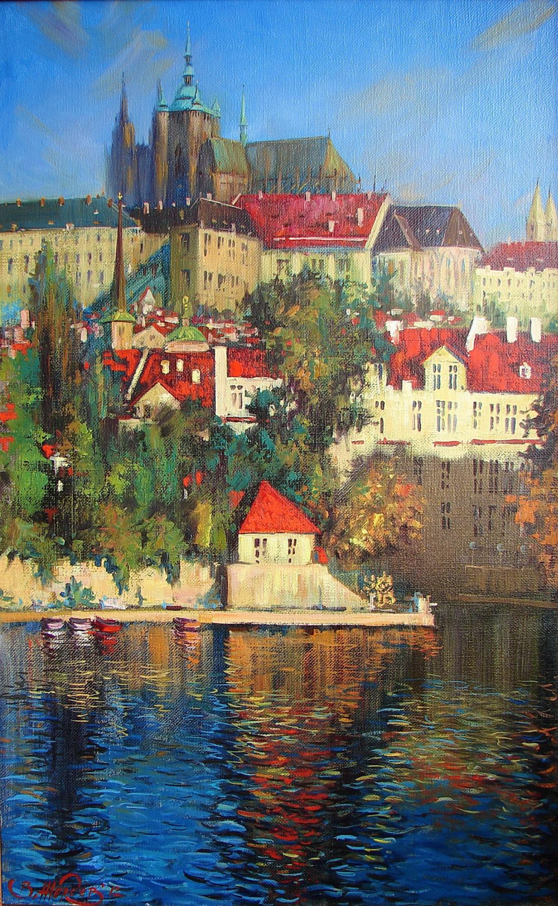 Виталий Викторович Жердев. Prague castle by Vitaliy Zherdev. 2012, 105x65 cm. Oil on canvas.
