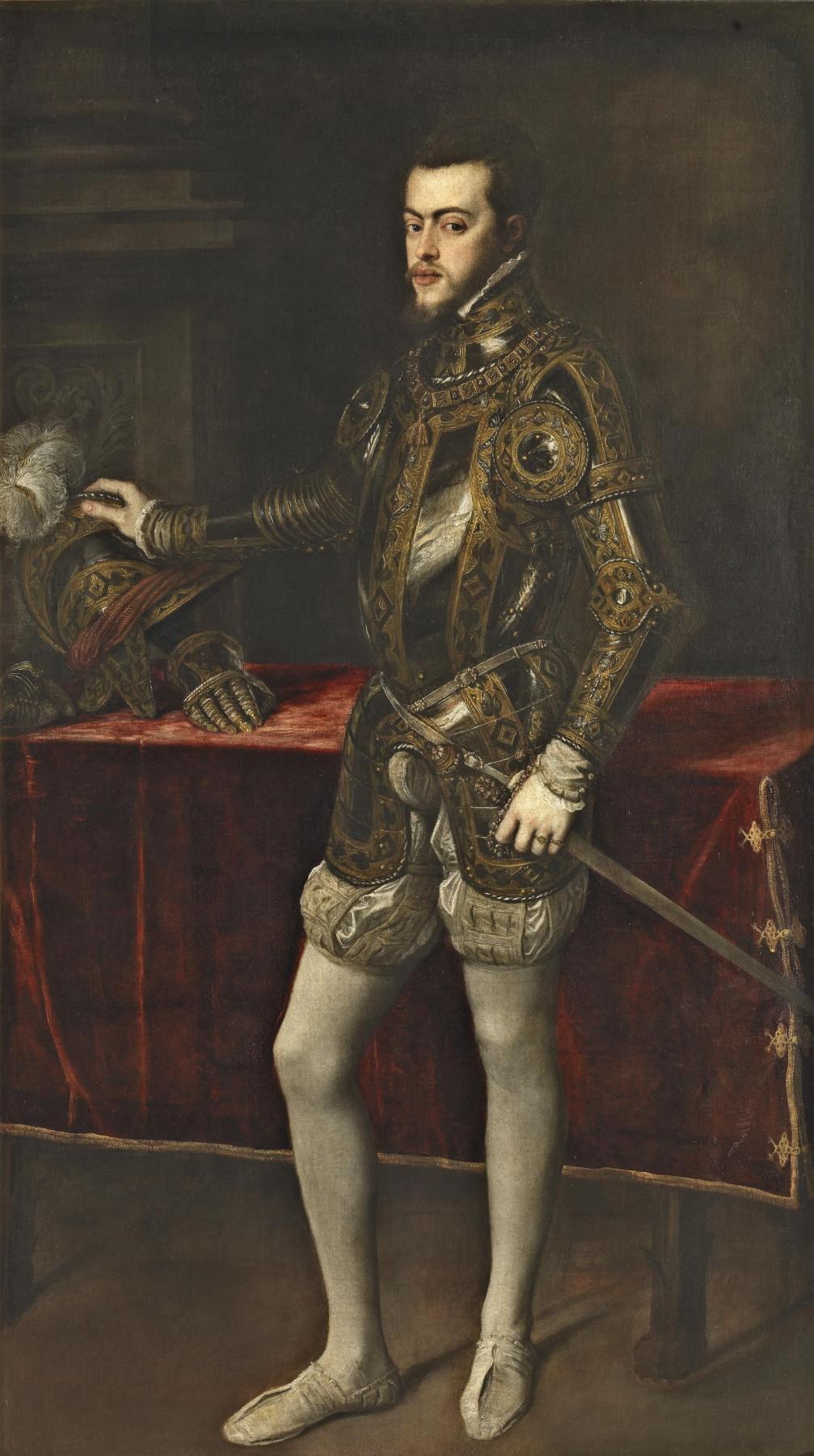 Titian Vecelli. Portrait of Philip II in armor