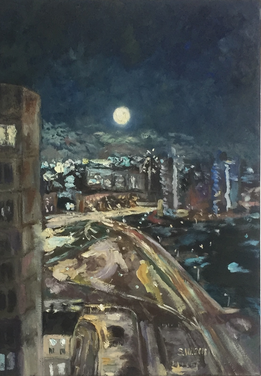"Sophia Vinogradova. Painting ""Lunar path"" (oil on canvas moon sky night city light Moscow lanterns road houses)"