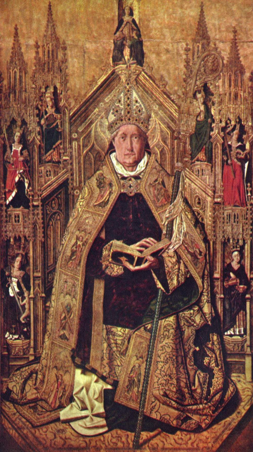 Bartolomé Bermejo. SV. Dominic on the throne with the seven cardinal virtues
