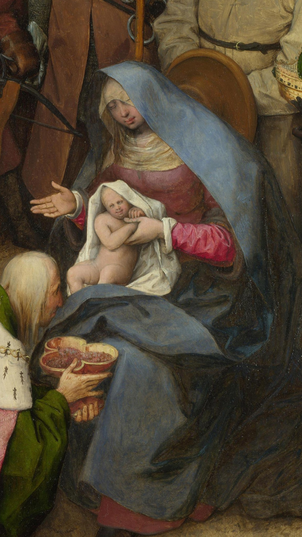 Pieter Bruegel The Elder. The adoration of the Magi. Fragment 3. Mary with child