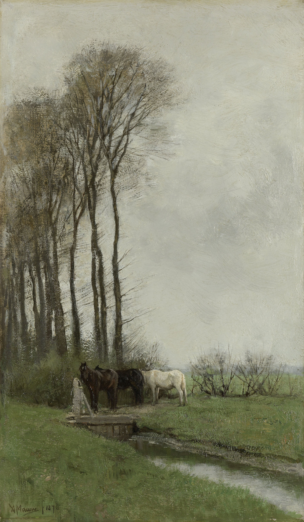 Anton Maouve. Horses at the fence