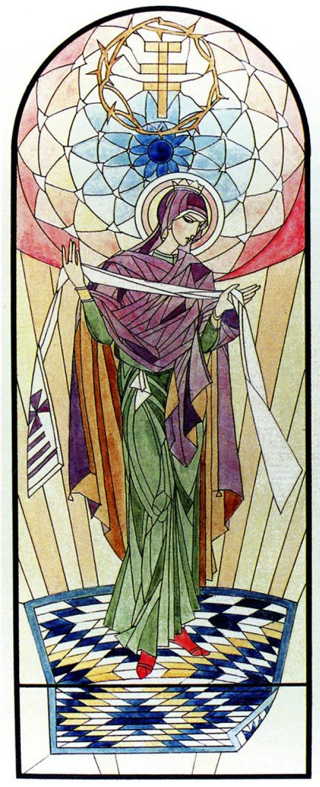 Peter Ivanovich Cold. Virgin Mary. Sketch of stained glass window