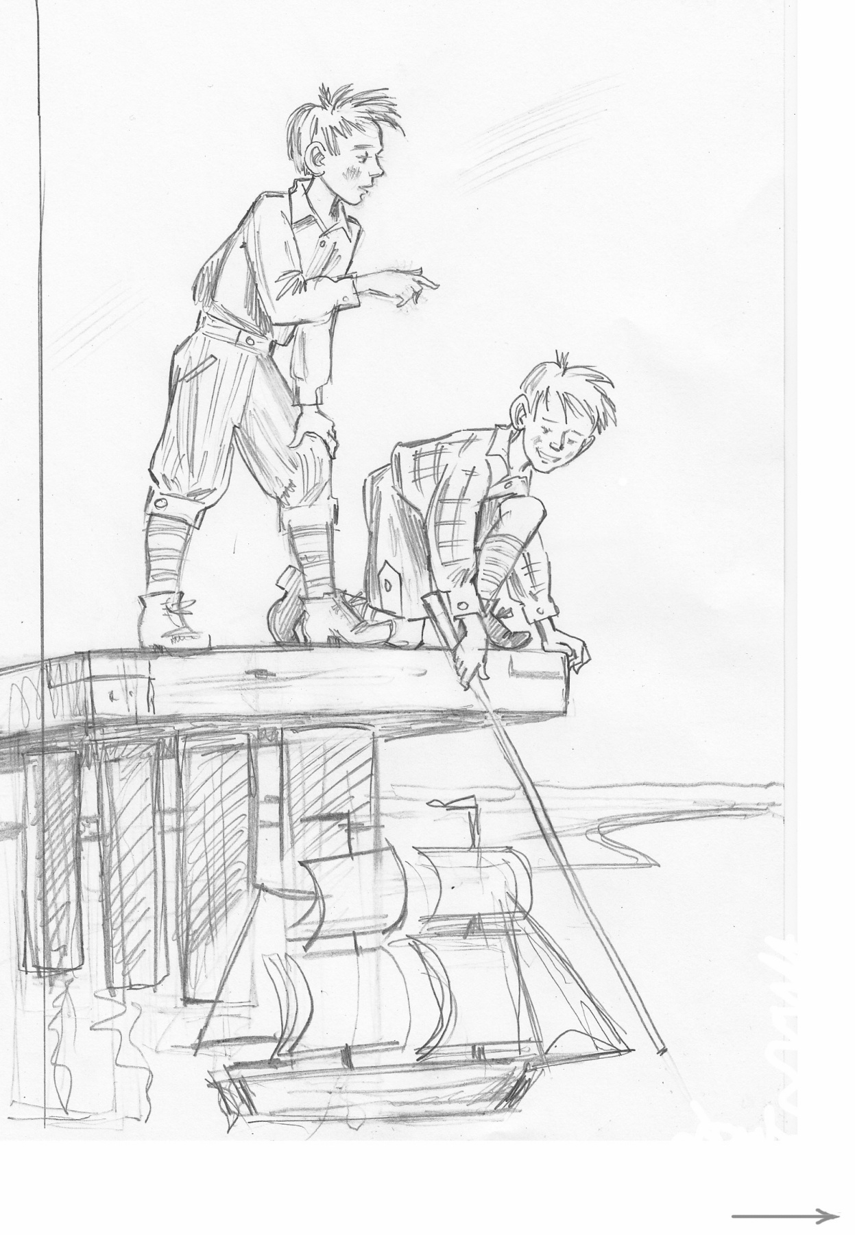 Alexander Vasilievich Kuzmin. My little boys. Gustav Geyerstam. Cover option. Sketch.