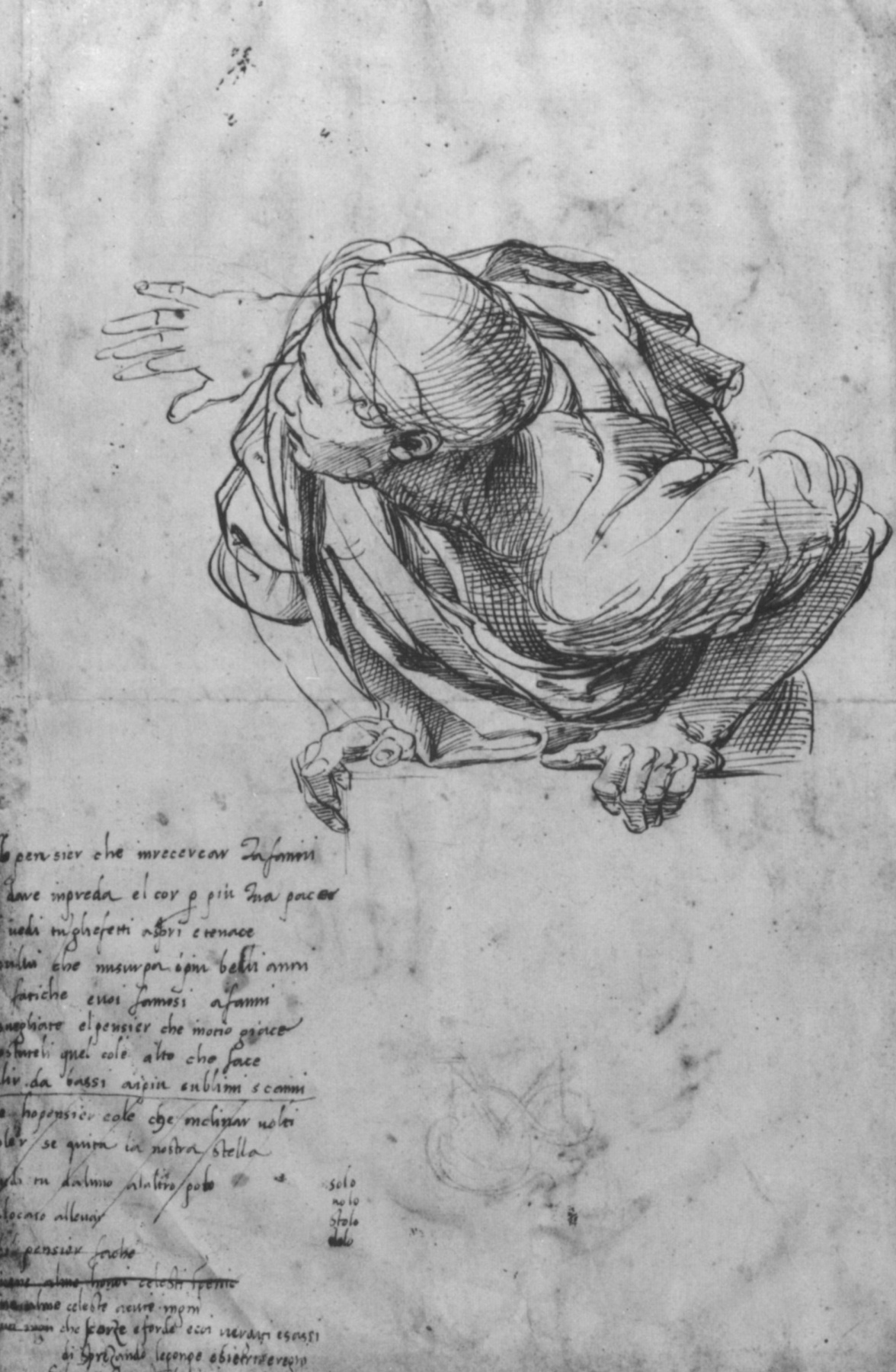 "Raphael Sanzio. The figure on the balustrade. A sketch for the fresco ""Dispute"" the Palace of the Pope at the Vatican"