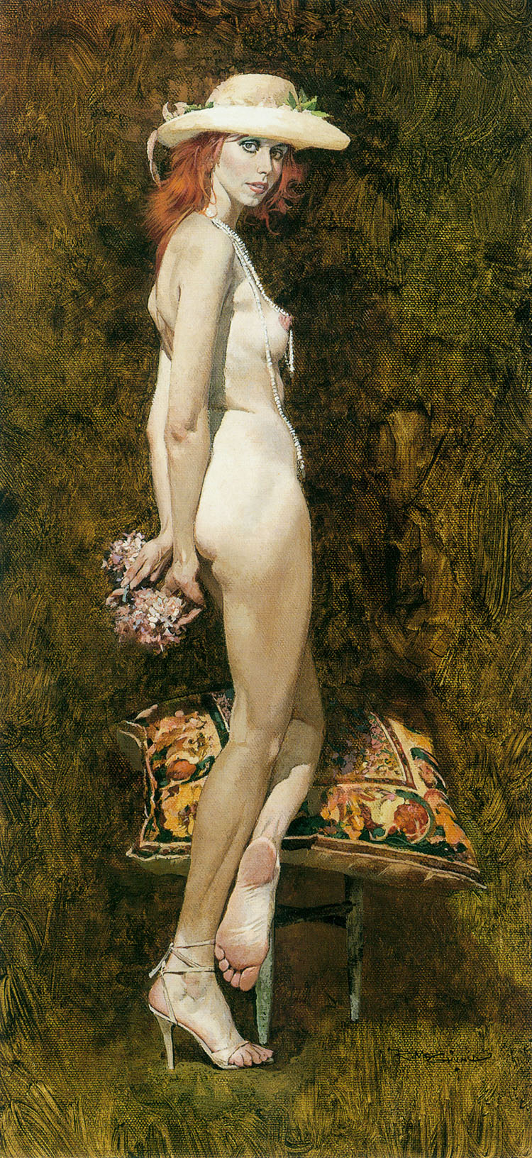 Robert McGinnis. Girl with a bouquet