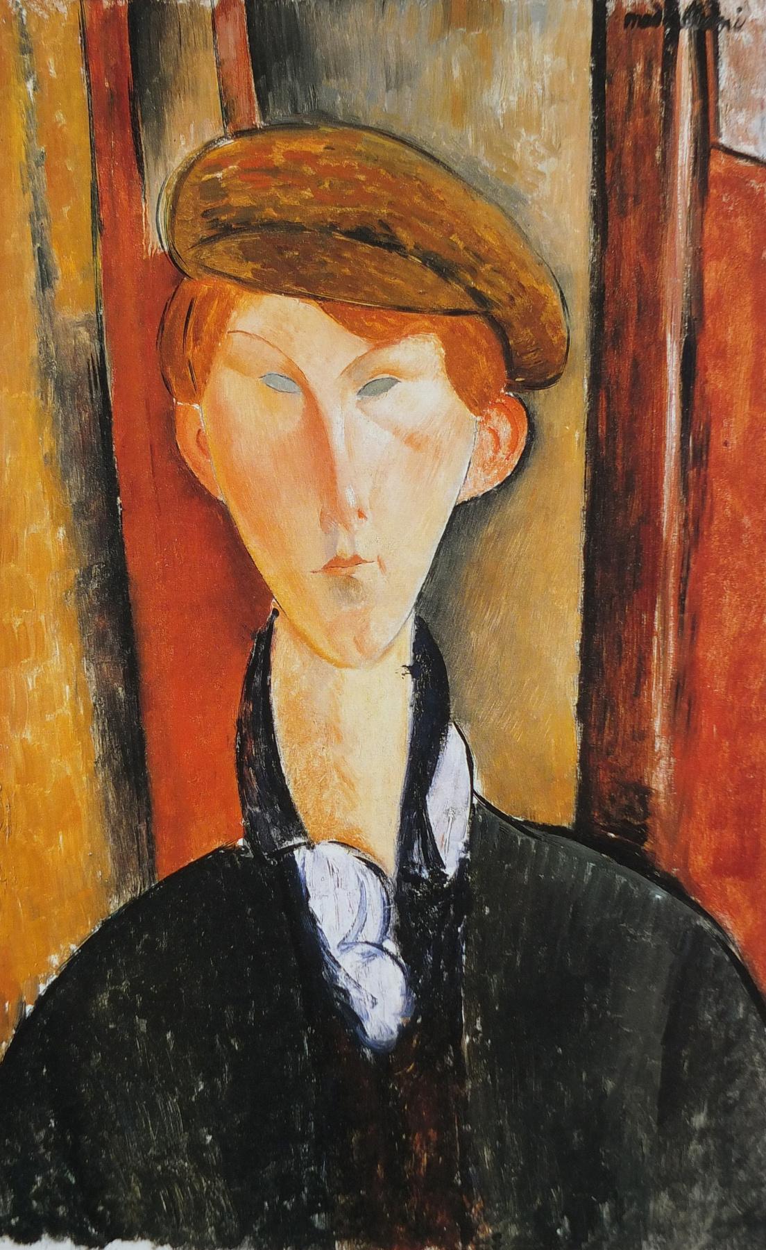Amedeo Modigliani. Portrait of a young man in a cap