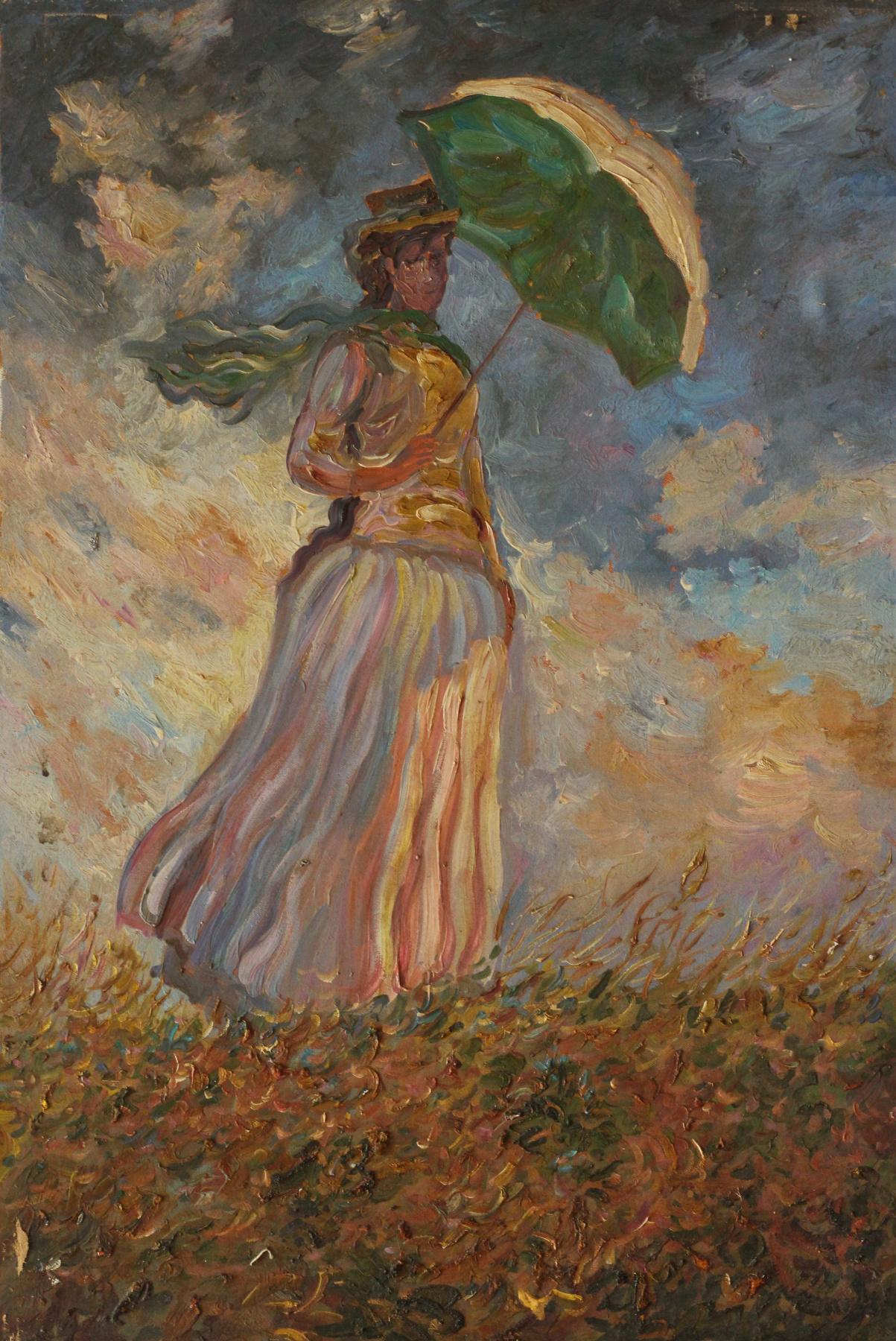 Unknown artist. Girl with an umbrella (Monet)