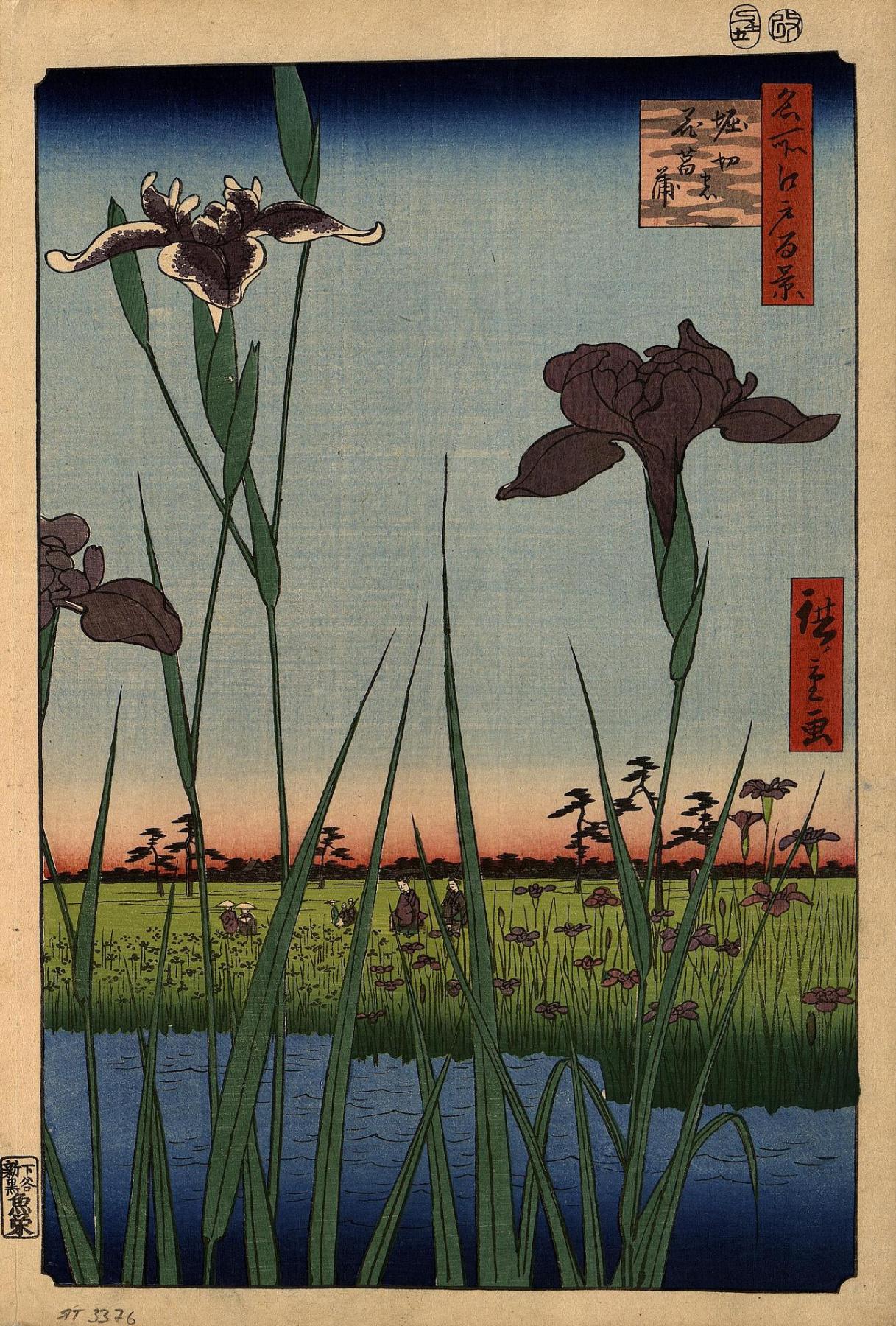 """Utagawa Hiroshige. Irises in Horikiri. The series """"100 famous views of Edo"""""""