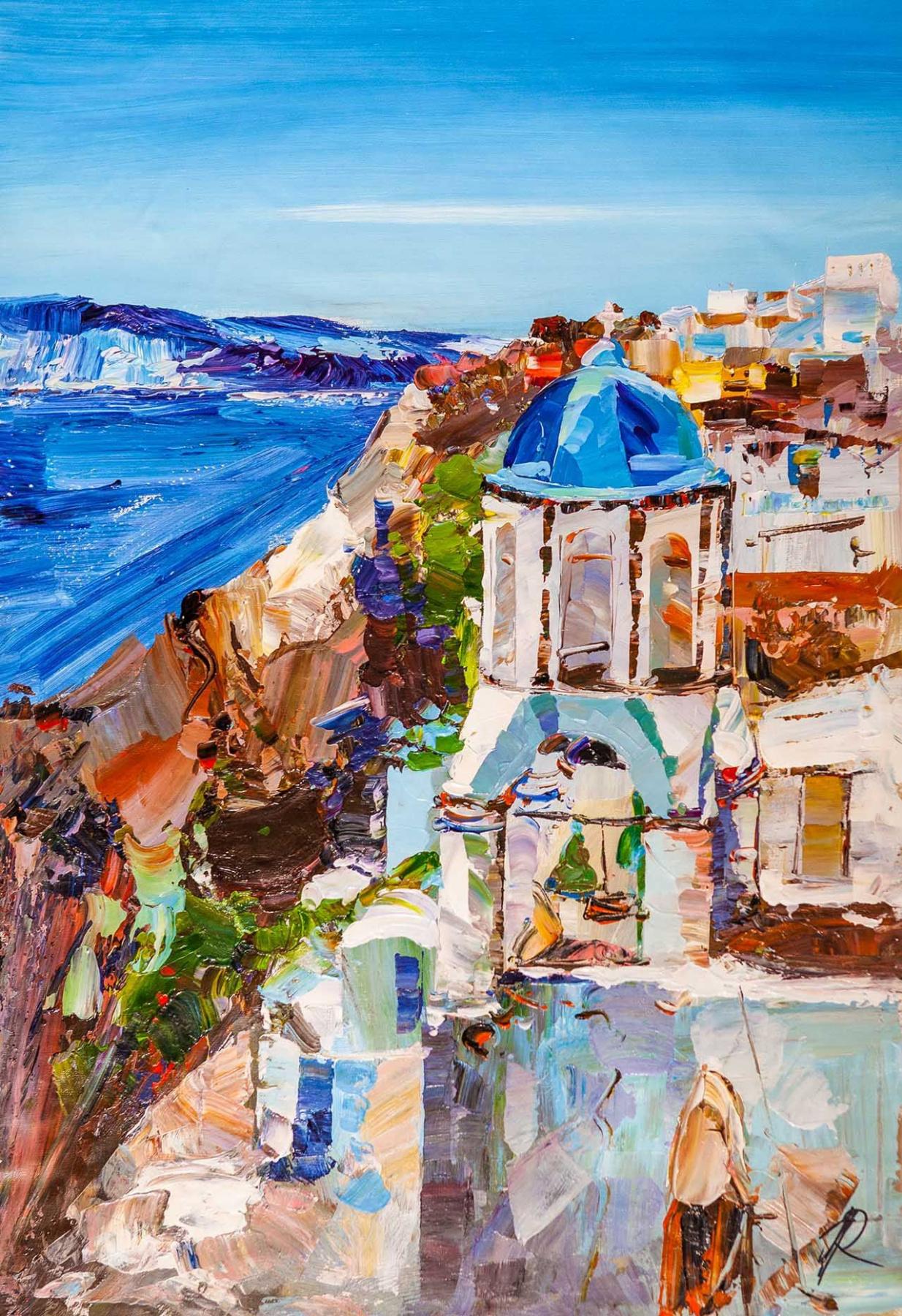 Jose Rodriguez. The white island of Santorini and the blue sea N3