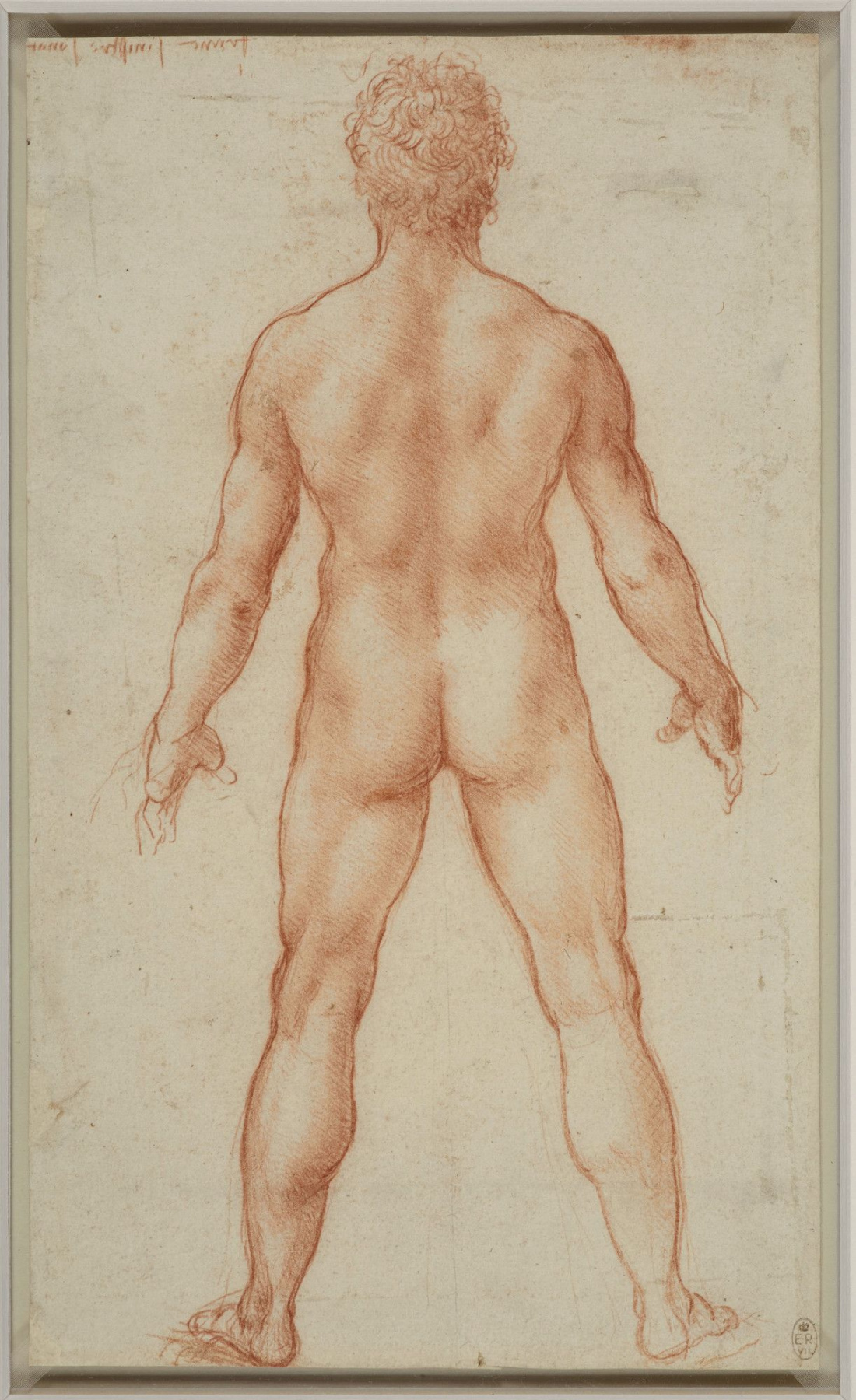 Leonardo da Vinci. Figure of a standing naked man