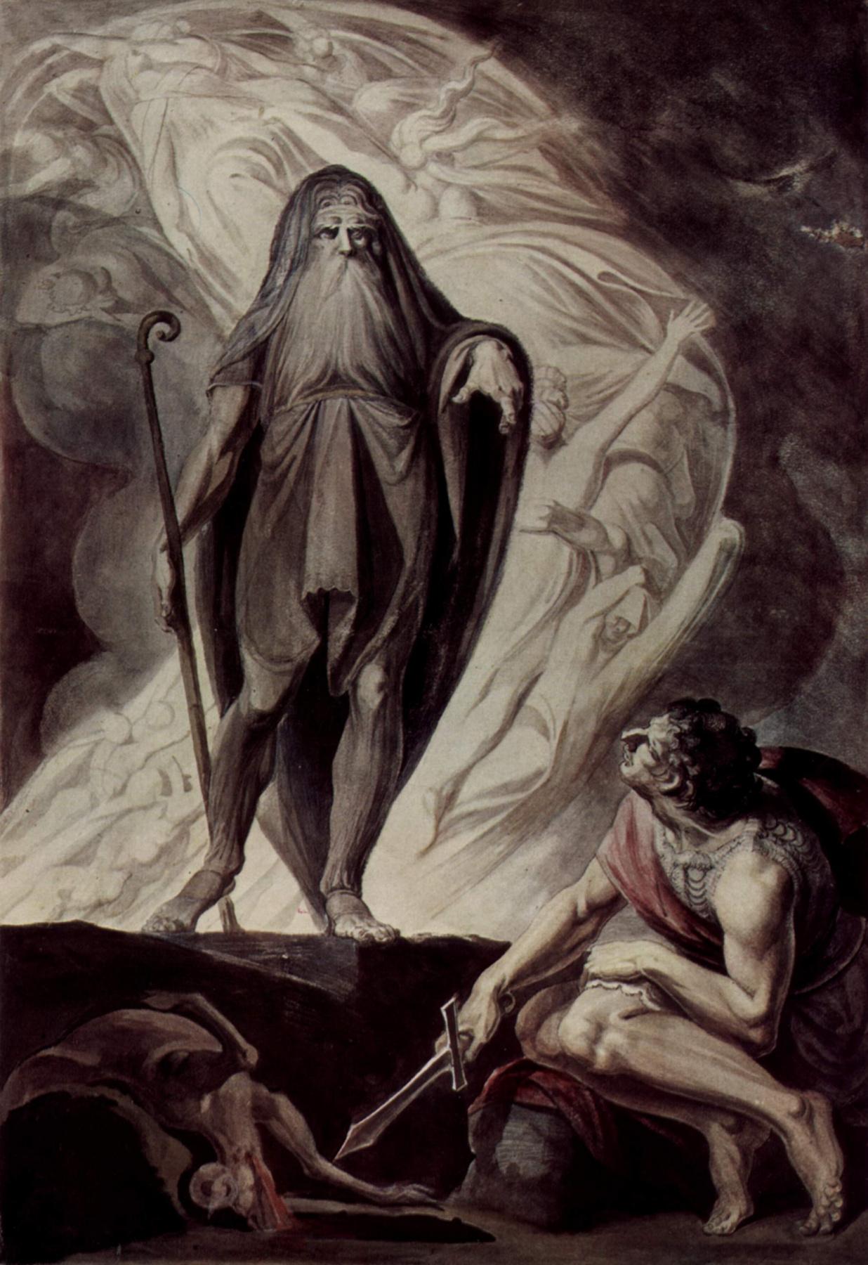 Johann Heinrich Fuessli. Tiresias appears to Ulysses during the sacrifice