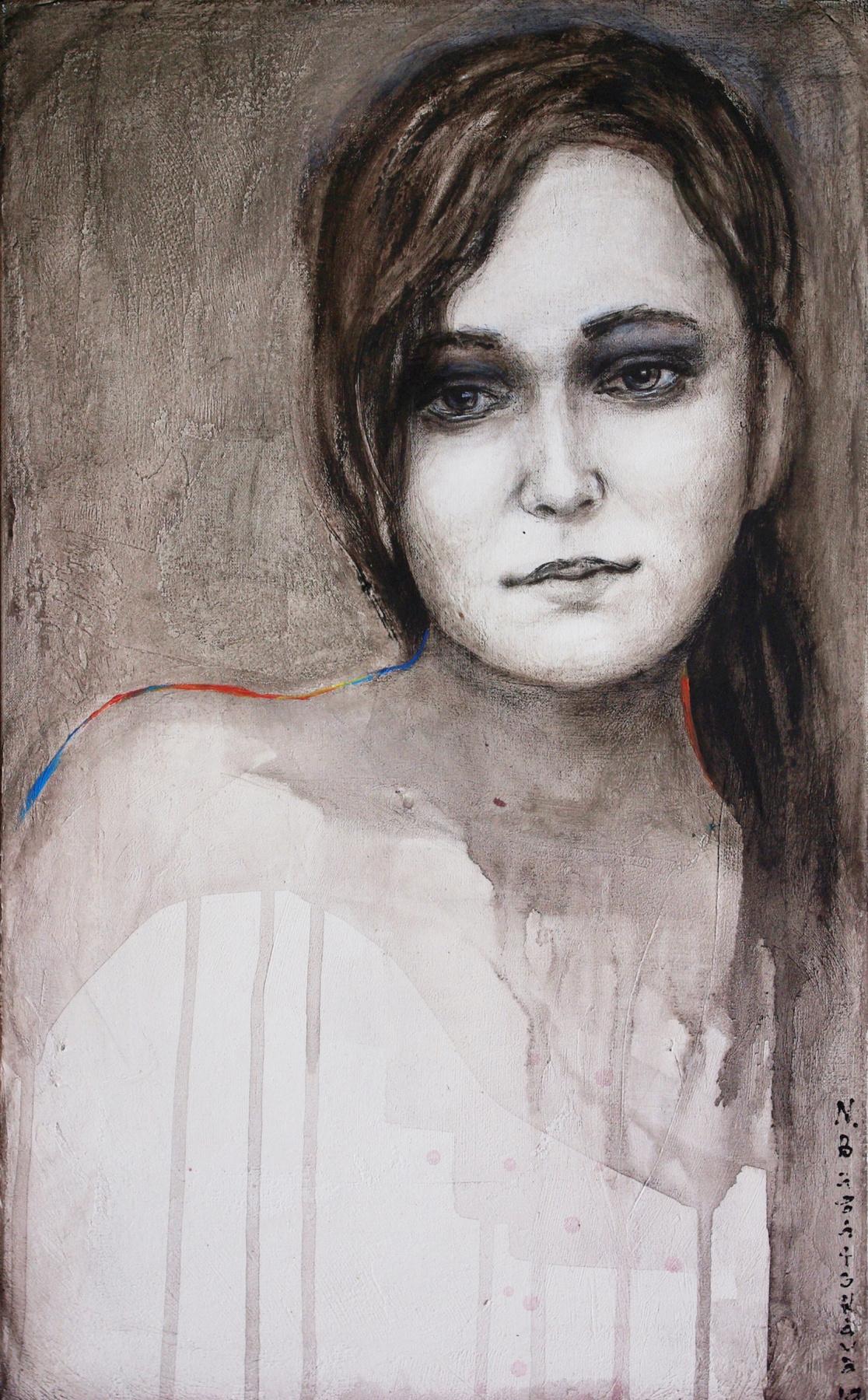 Natalia Bagatskaya. Portrait of a girl in grisaille