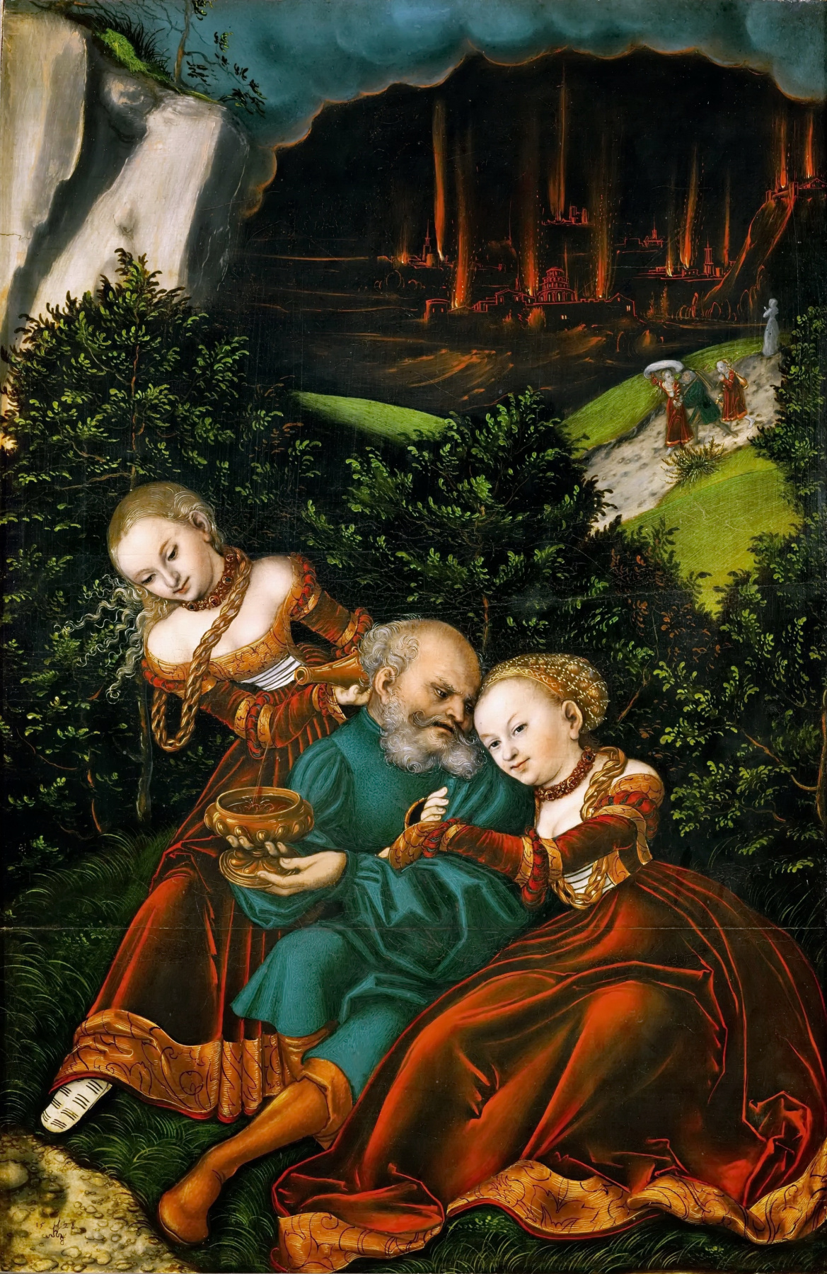 Lucas Cranach the Elder. Lot with his daughters