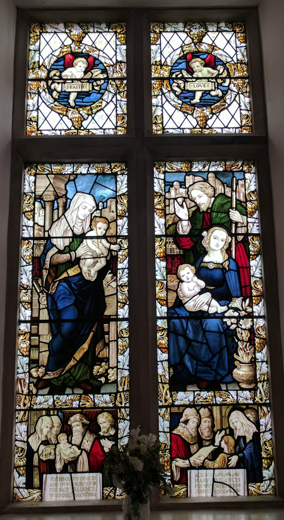 William Morris. Holy family. Stained glass window in the Old House of Assembly, Mansfield, Nottinghamshire