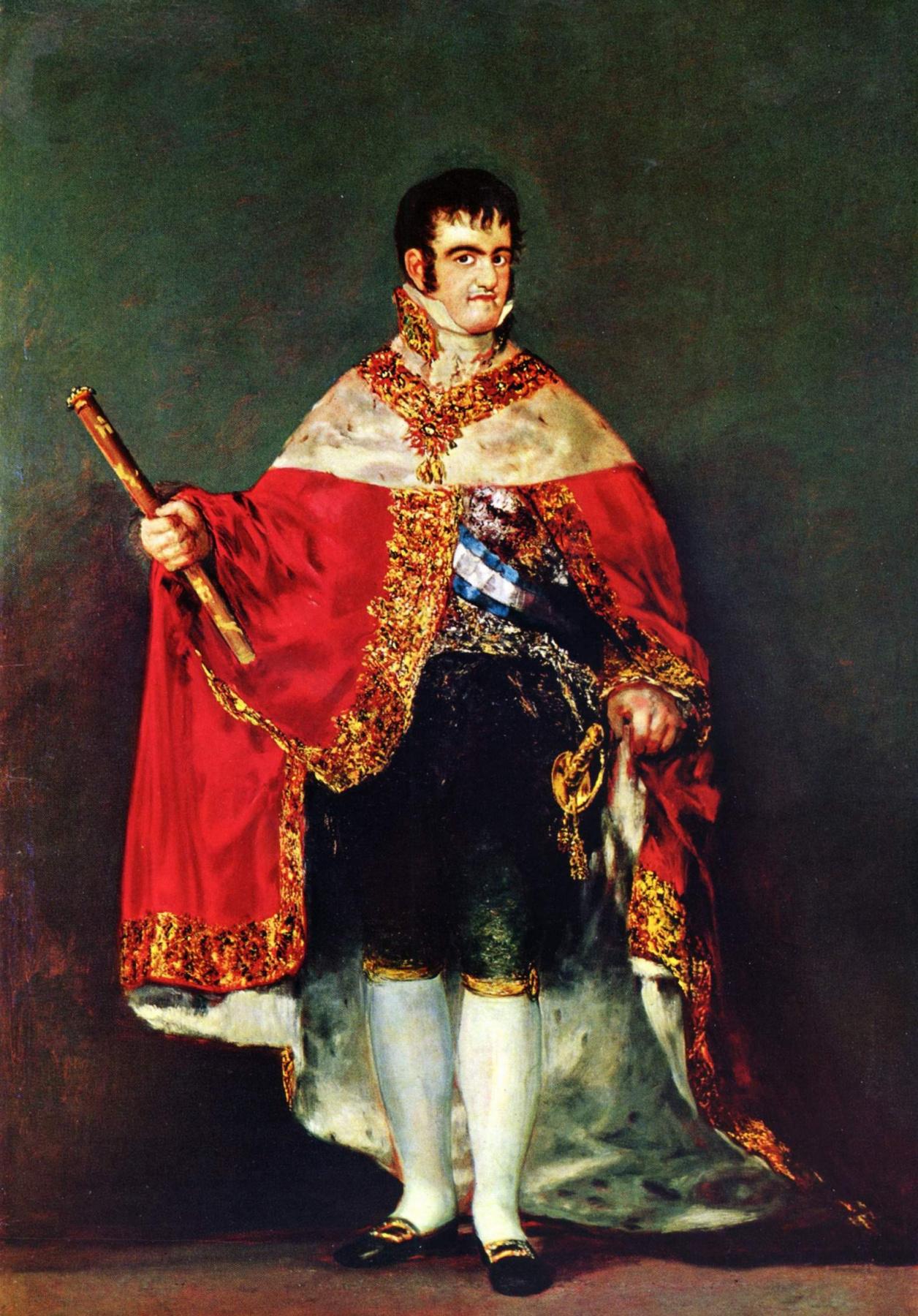Francisco Goya. Portrait of king Ferdinand VII with Royal regalia