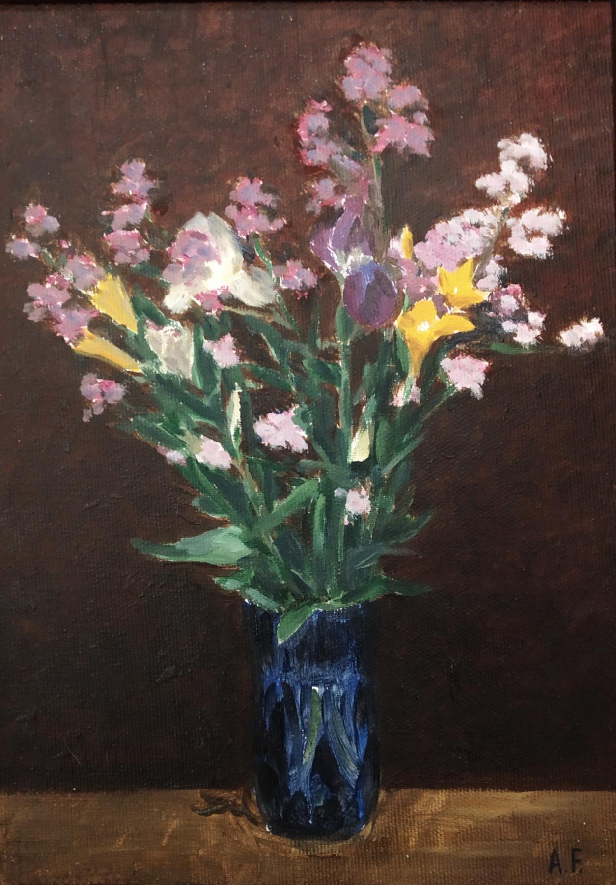 Alexandra Sergeevna Fedulova. Flowers in a blue vase