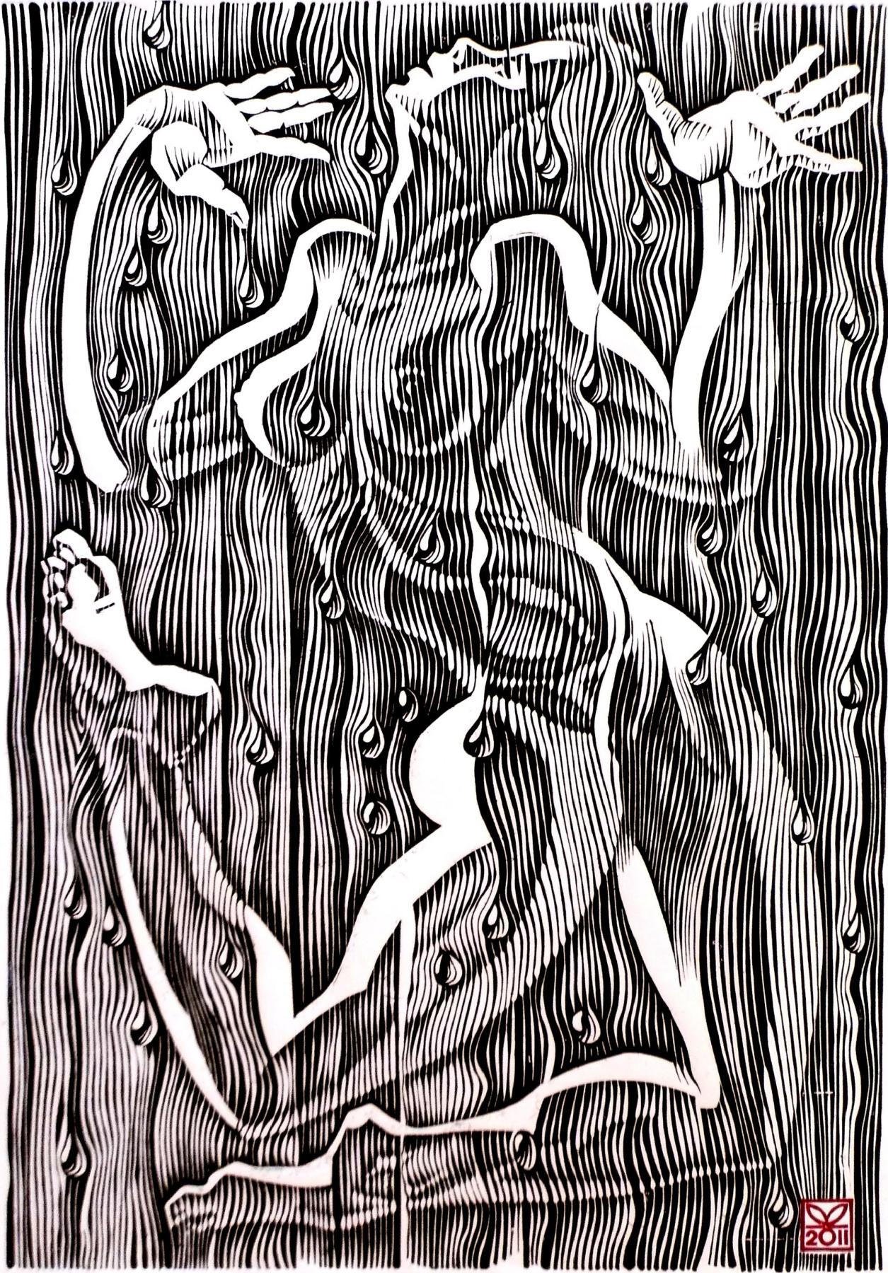 """Vladimir Kataev. """"The dance of summer rain-1"""", linocut, 65Х45, 2011"""