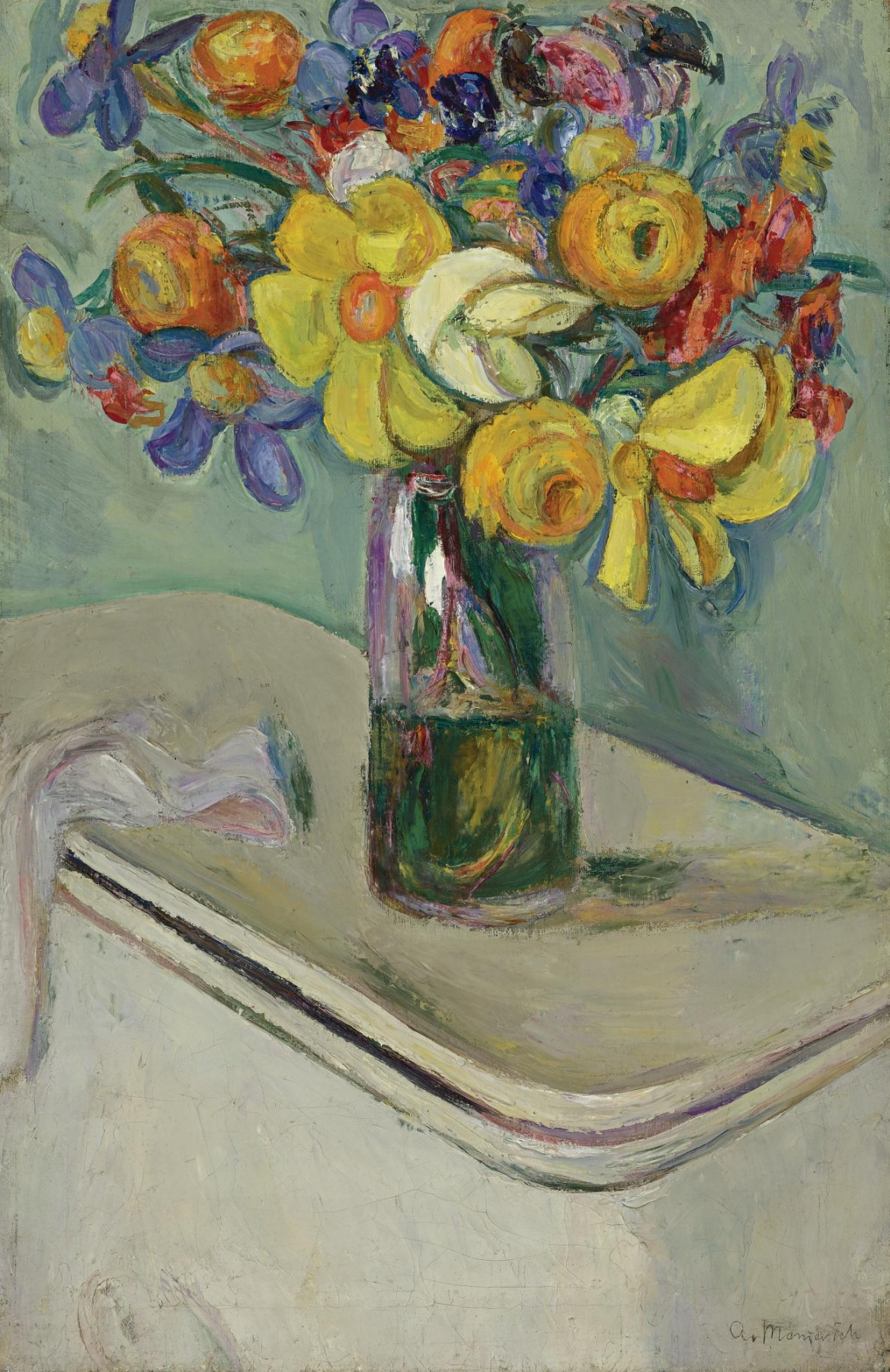 Abram Anshelevich Manevich. Flowers in a glass vase on a box