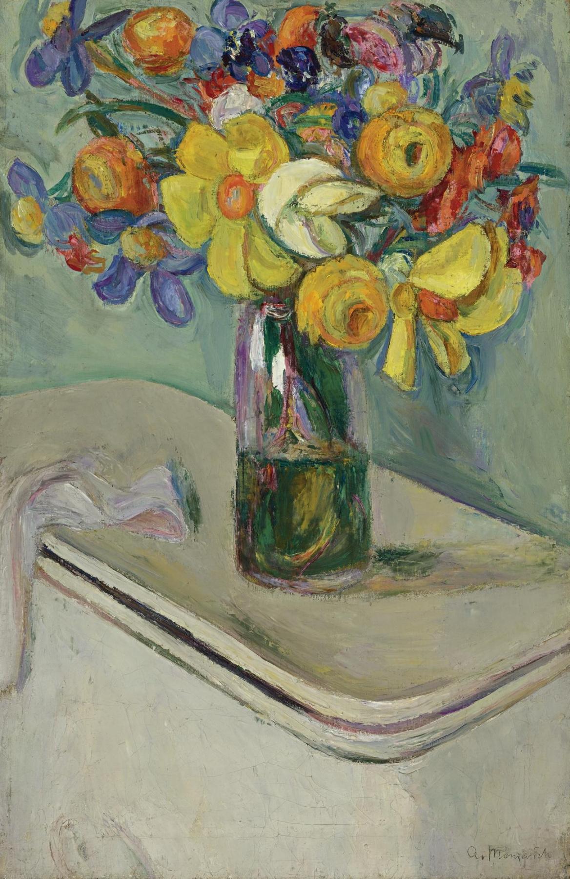 Абрам Аншелевич Маневич. Flowers in a glass vase on a box