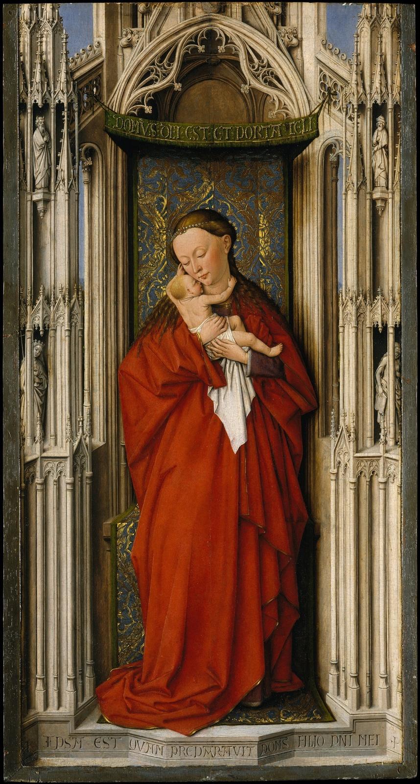 Unknown artist. Dutch school. About 1500 Madonna and Child in a niche. 58.4 x 30.8