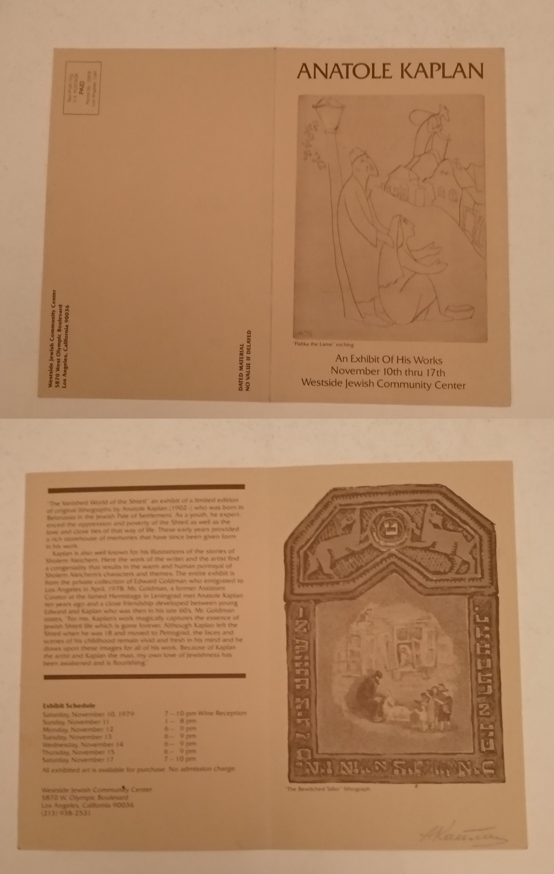 Anatoly Kaplan L.. Leflet for the exhibition (11-1979 Los Angeles) signed by A.L. Kaplan