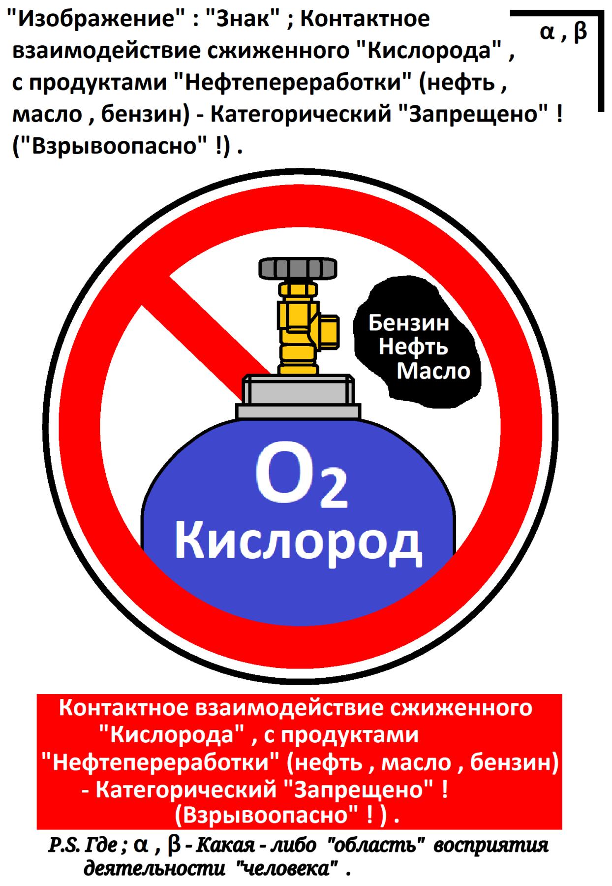 """Arthur Gabdrupes. """"Изображение"""" : """"Знак"""" ; Контактное взаимодействие сжиженного """"Кислорода"""" , с продуктами """"Нефтепереработки"""" - Категорический """"Запрещено"""" ! (""""Взрывоопасно"""" !) . 2021г. (1)"""