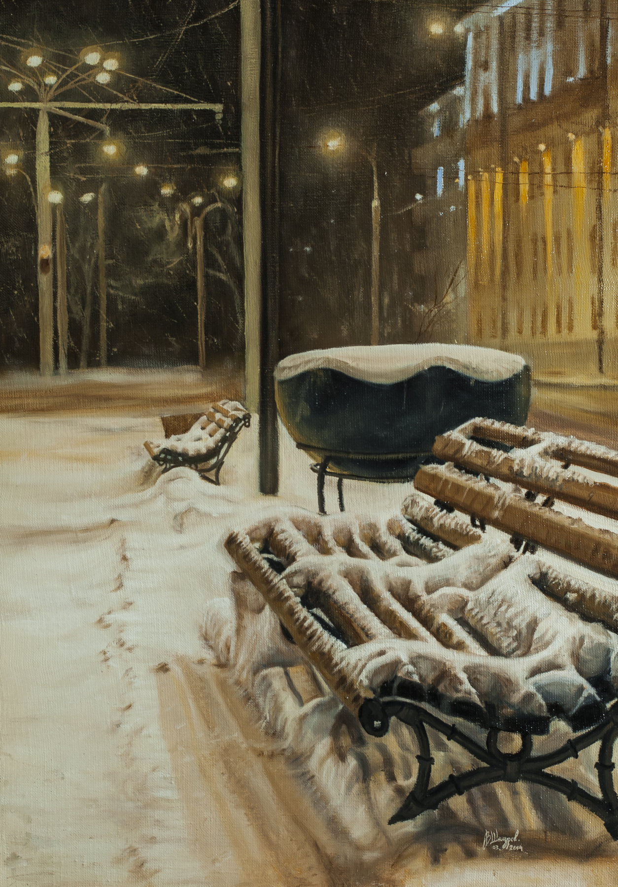 Вячеслав Юрьевич Шайнуров. Winter bench