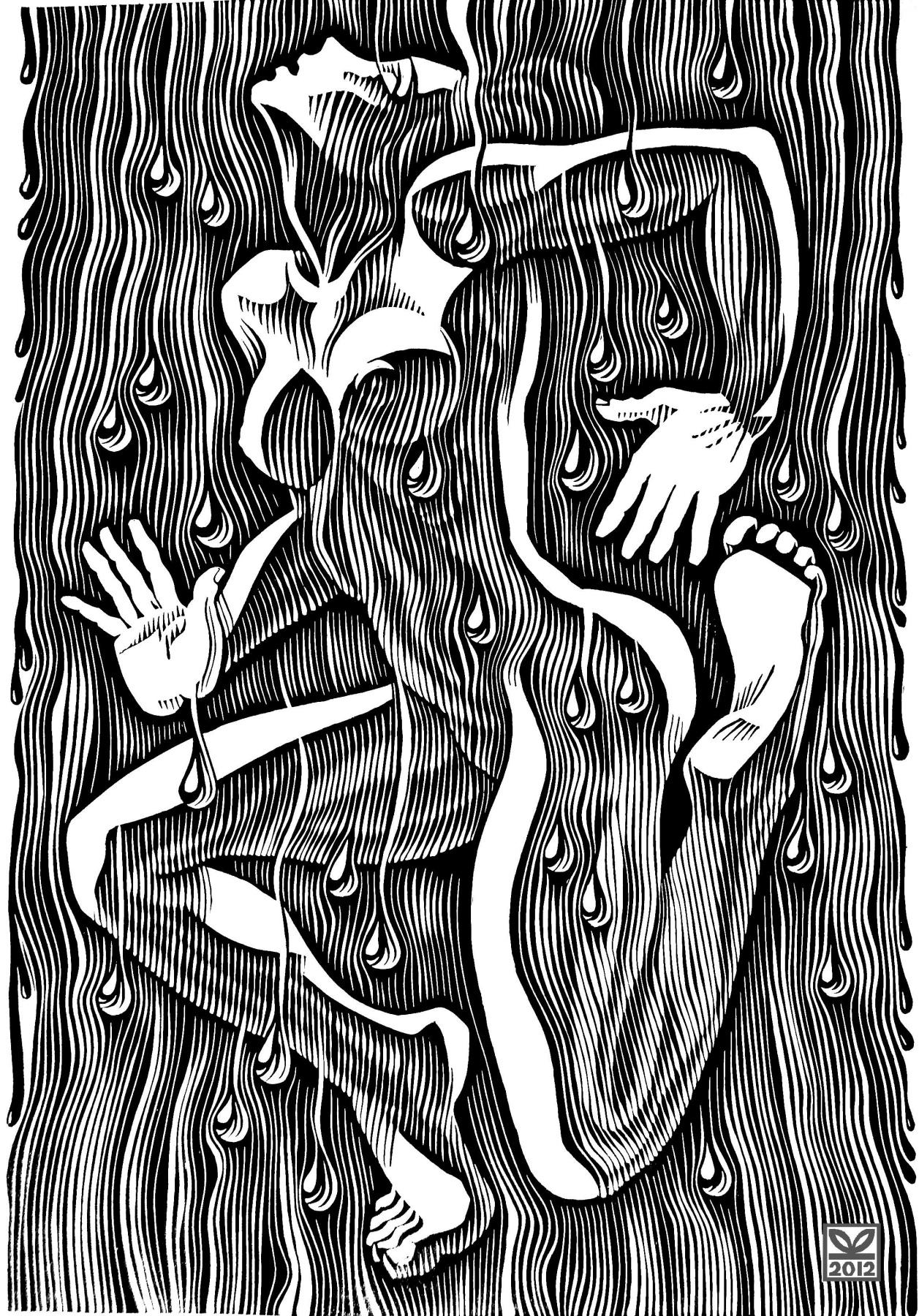 """Vladimir Kataev. """"The dance of summer rain-5"""", linocut, 65Х45, 2011"""
