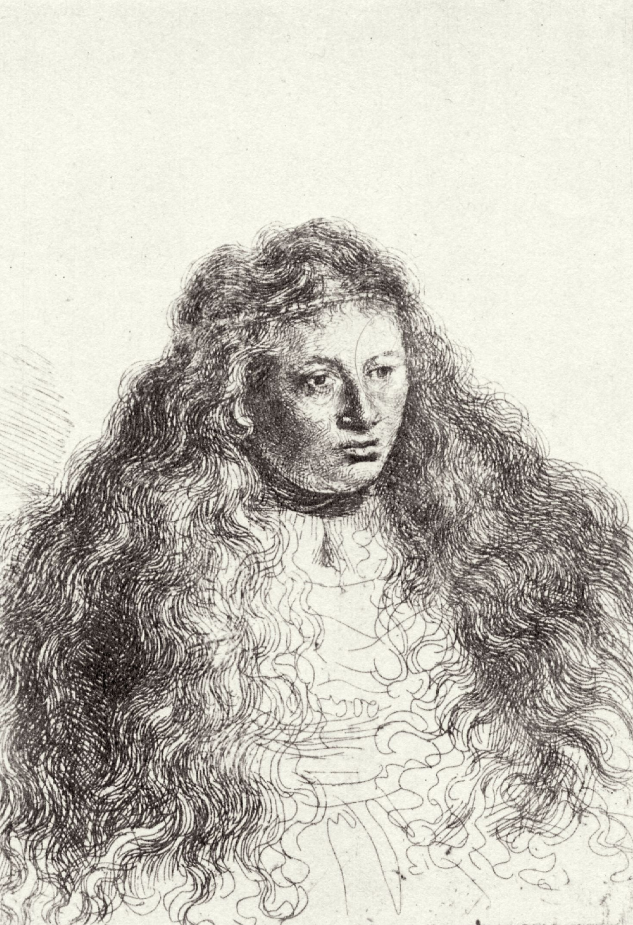 Rembrandt Harmenszoon van Rijn. A woman with flowing hair (Saskia)