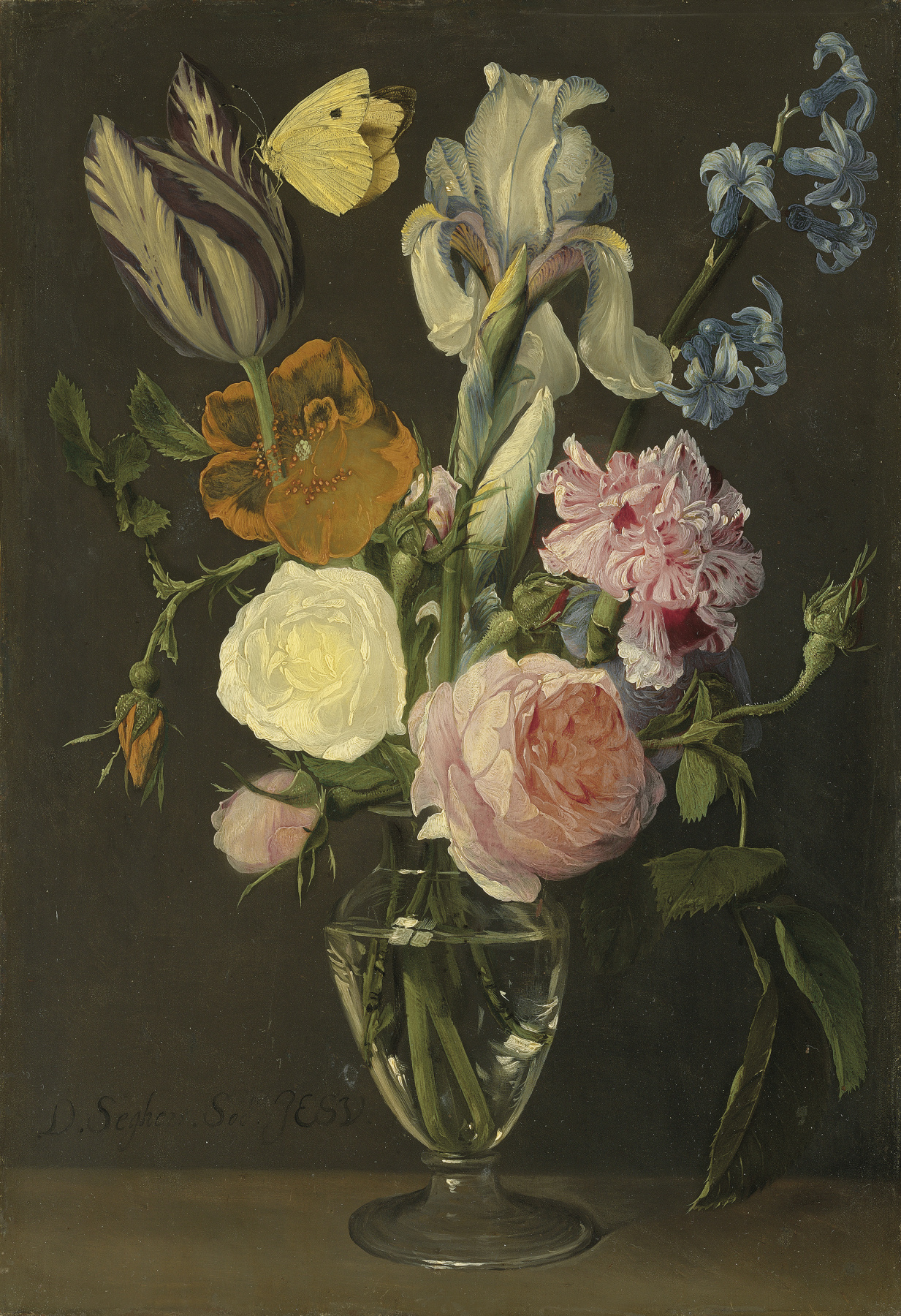 Daniel Segers. Tulips, roses and other flowers in a glass vase