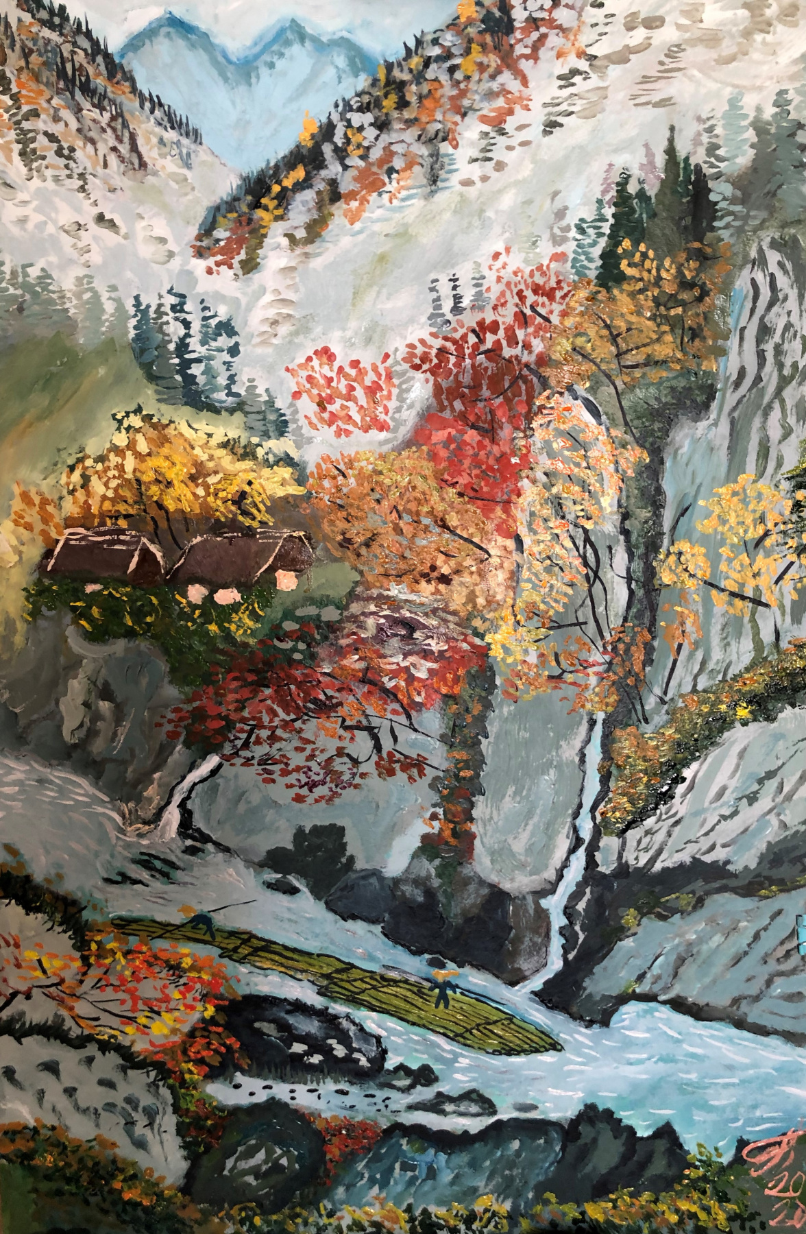 Sergey Vladimirovich Sebini. Landscape with a mountain river on the theme of Keukei Kojima