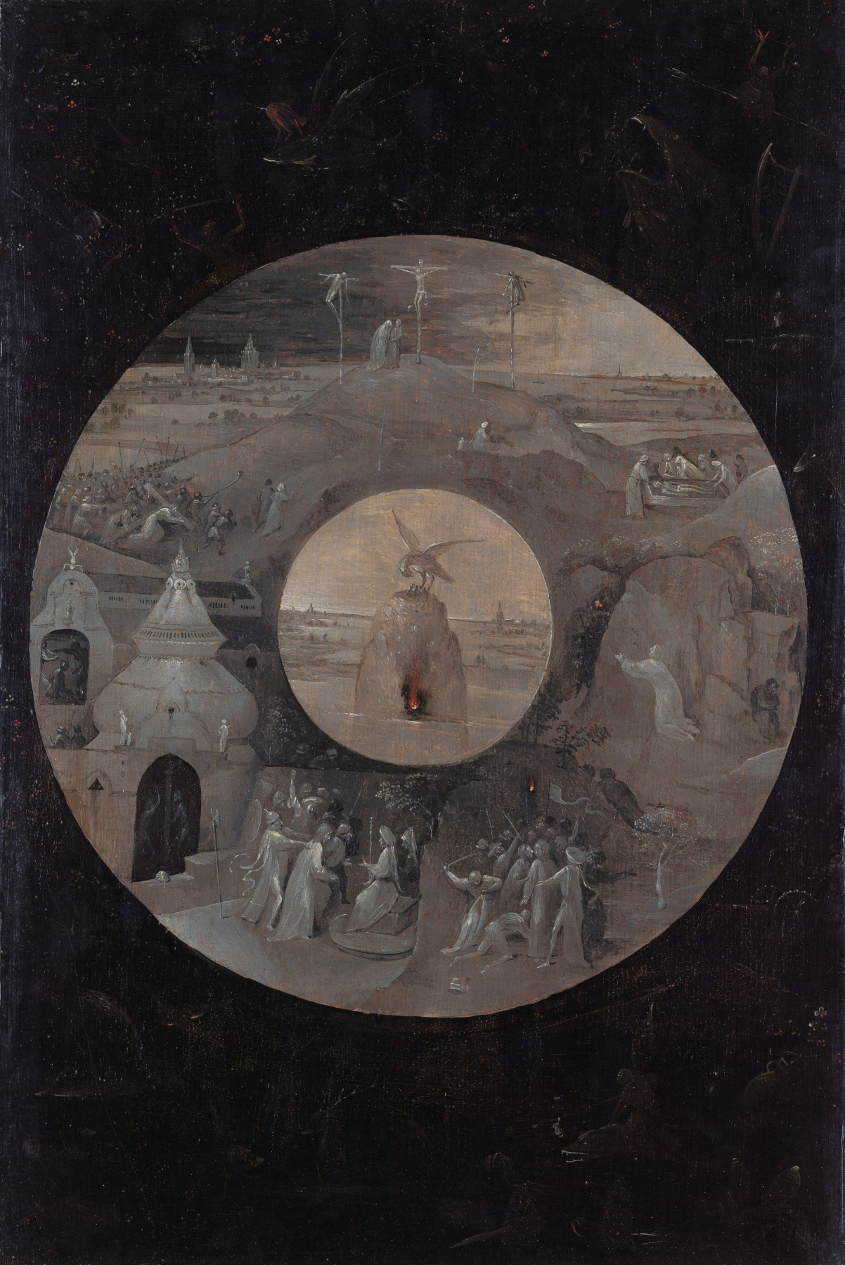 """Hieronymus Bosch. Scenes of the passion of Christ and the Pelican with Chicks. The flip side of the Board """"St. John on Patmos"""""""