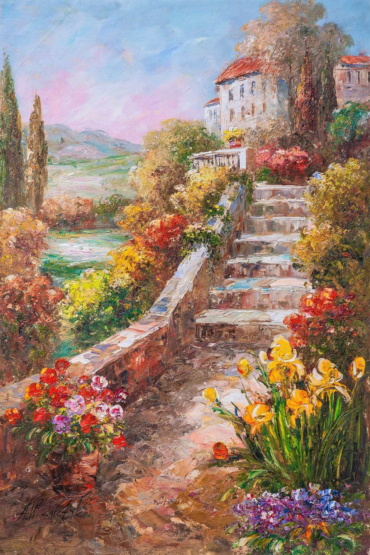 """Andrzej Vlodarczyk. Oil landscape """"Blooming Mediterranean. On the way to home"""""""