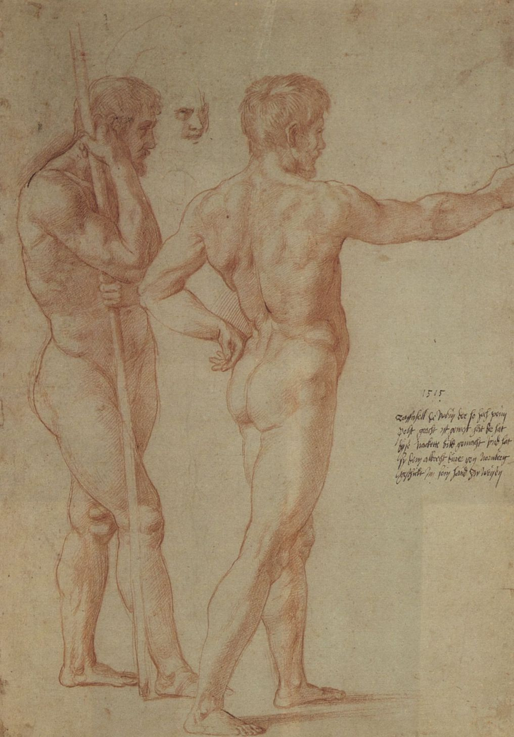 """Raphael Sanzio. Sketch for the fresco """"the Battle of Ostia"""". Sketches of two Nude models"""